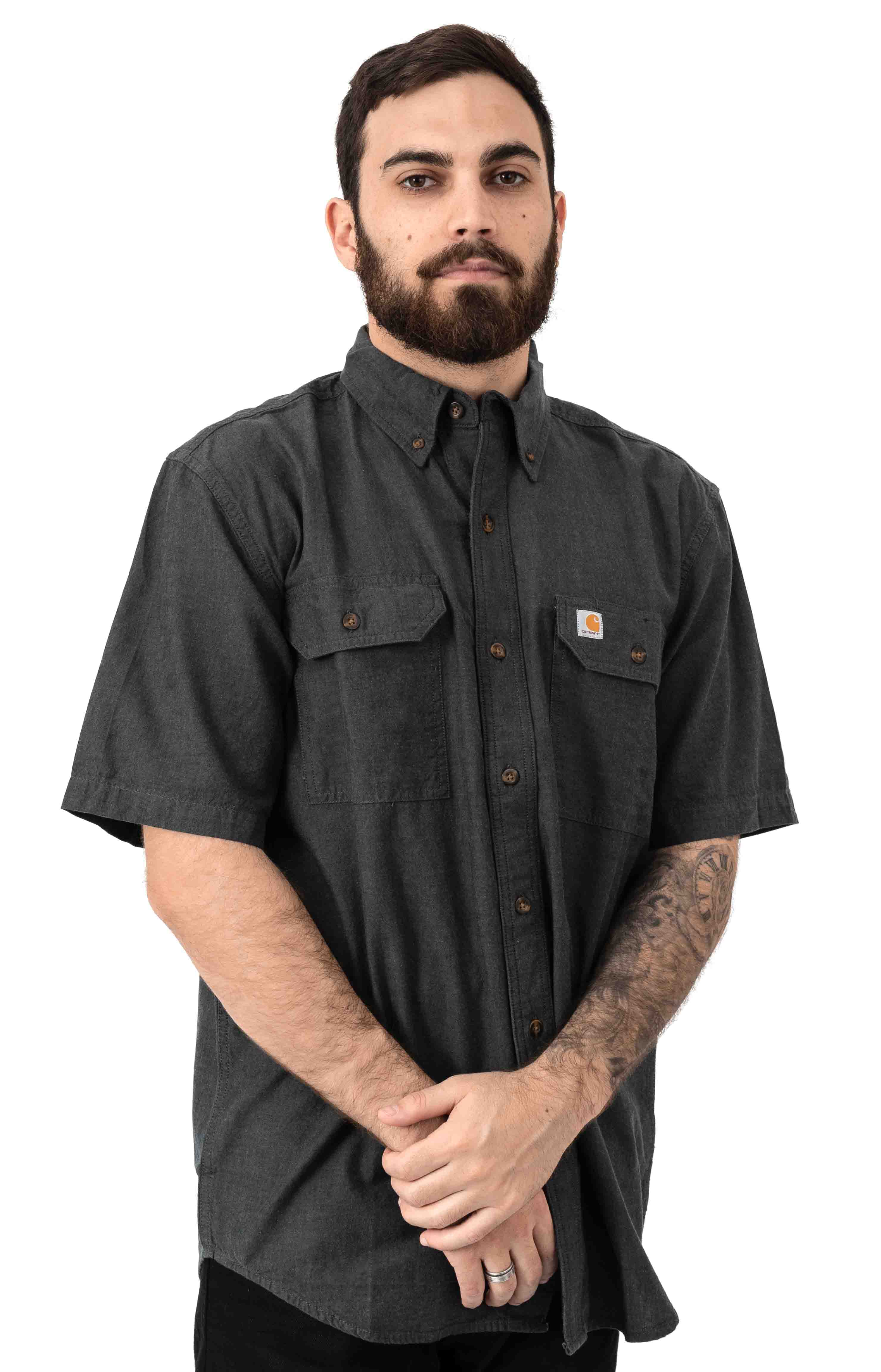 (104369) Original Fit MW S/S Button-Up Shirt - Black Chambray
