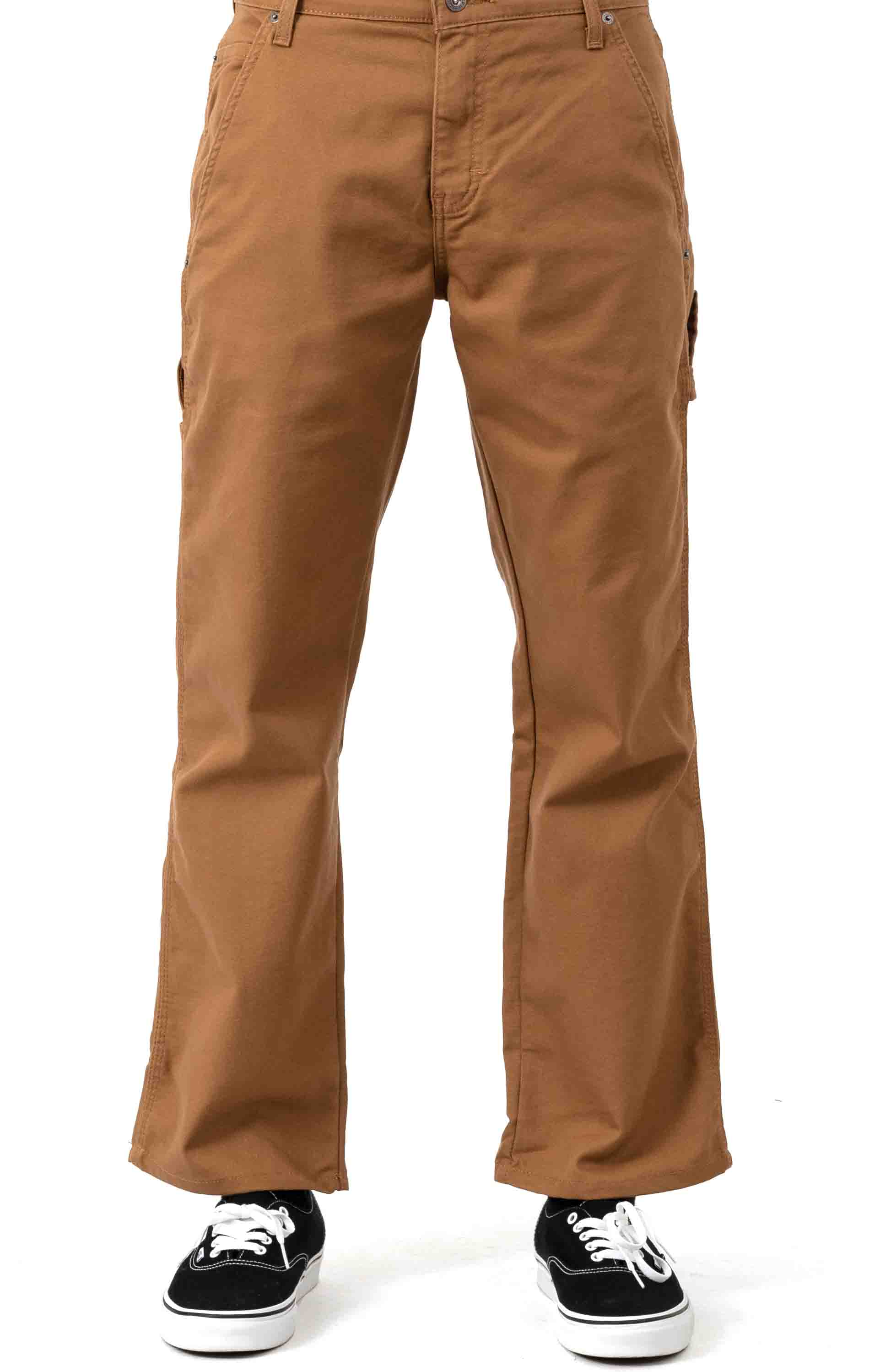 (DP901SBD) FLEX Relaxed Fit Tough Max Duck Carpenter Pants - Stonewashed Brown Duck 2
