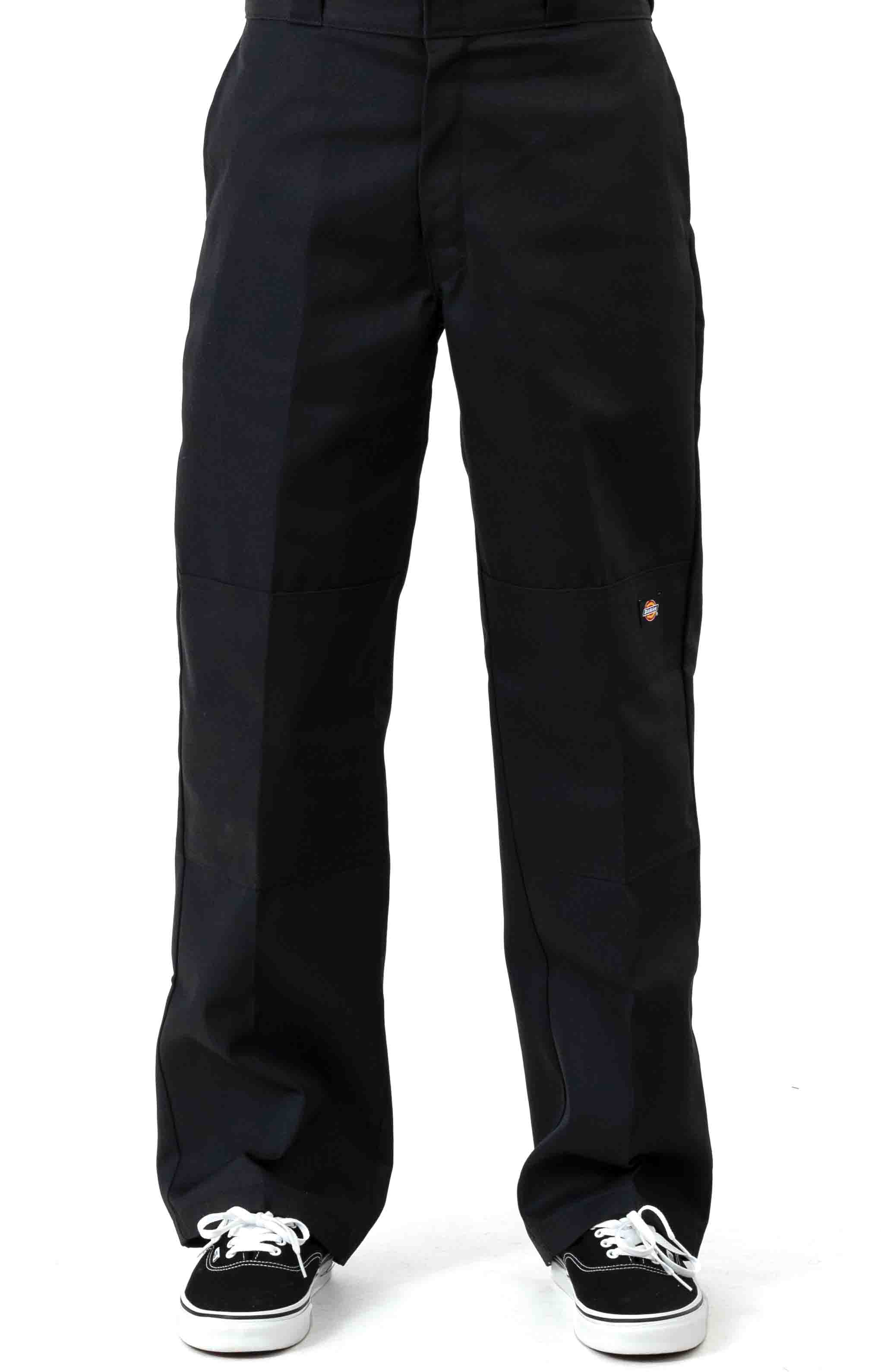 (WP852BK) Relaxed Fit Straight Leg Double Knee Pants - Black