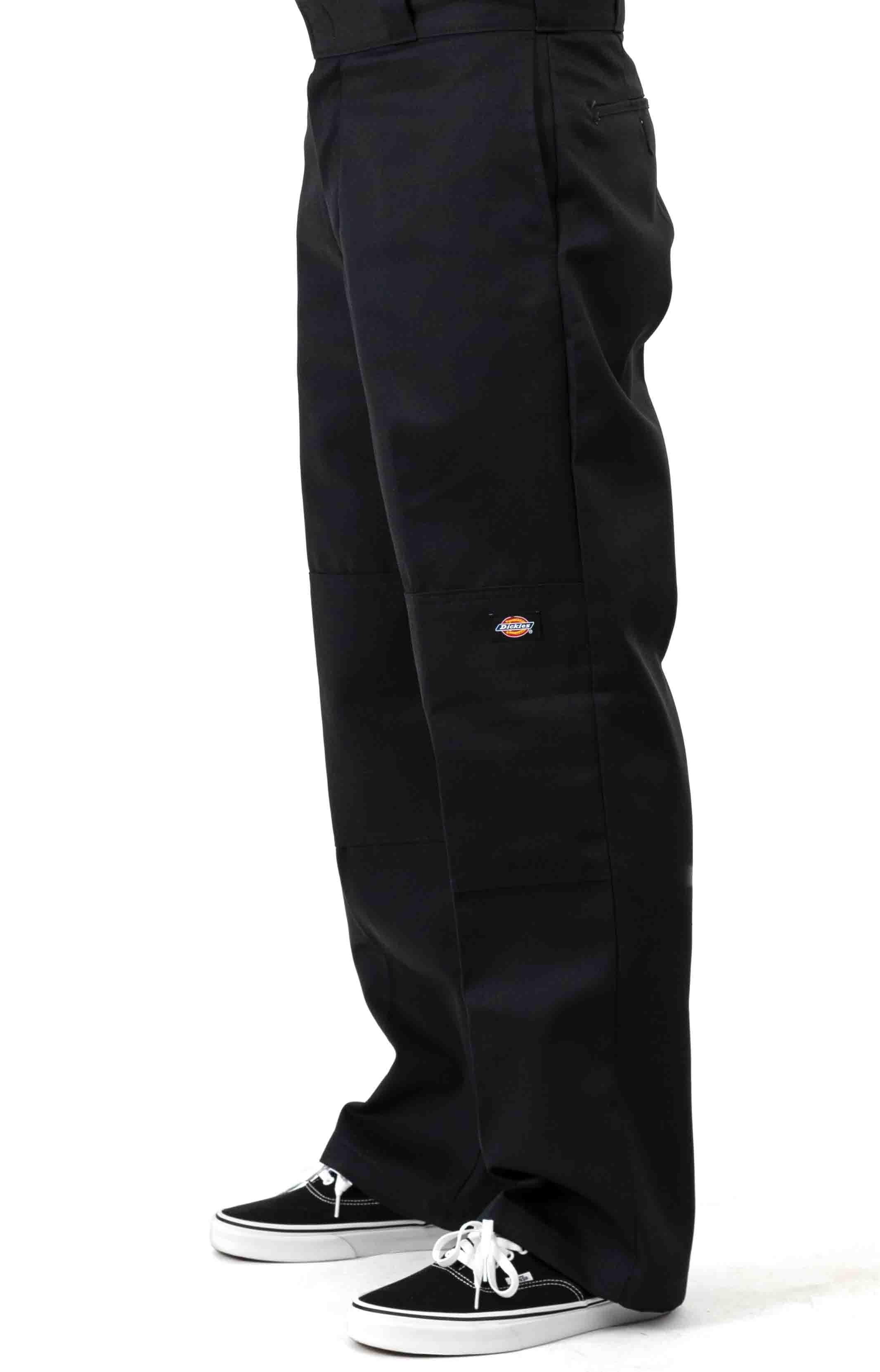 (WP852BK) Relaxed Fit Straight Leg Double Knee Pants - Black 2