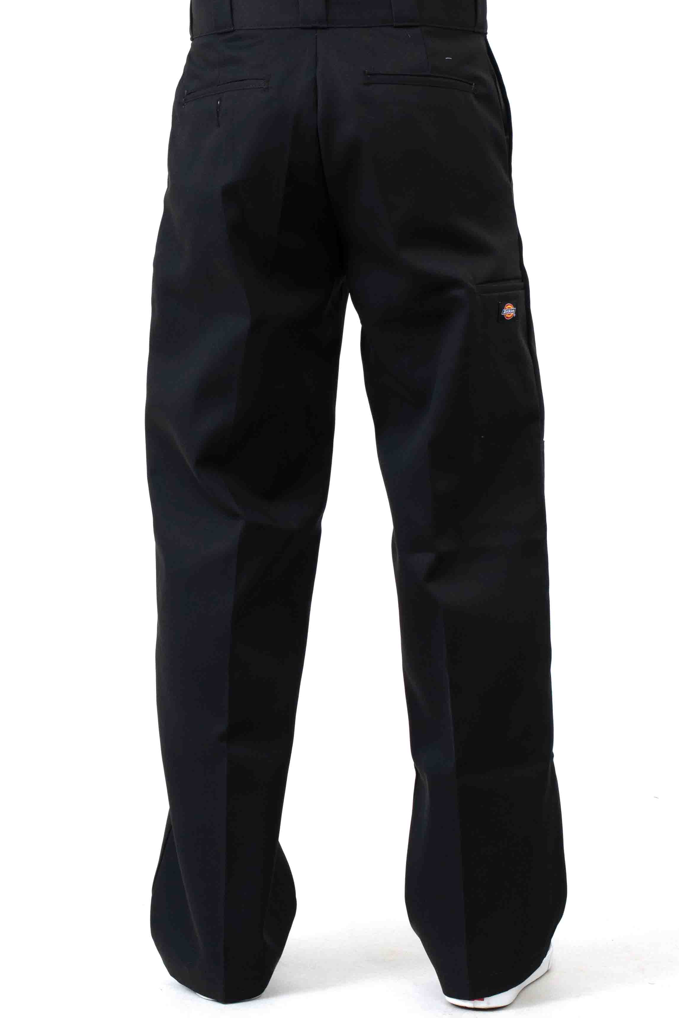 (WP852BK) Relaxed Fit Straight Leg Double Knee Pants - Black 3