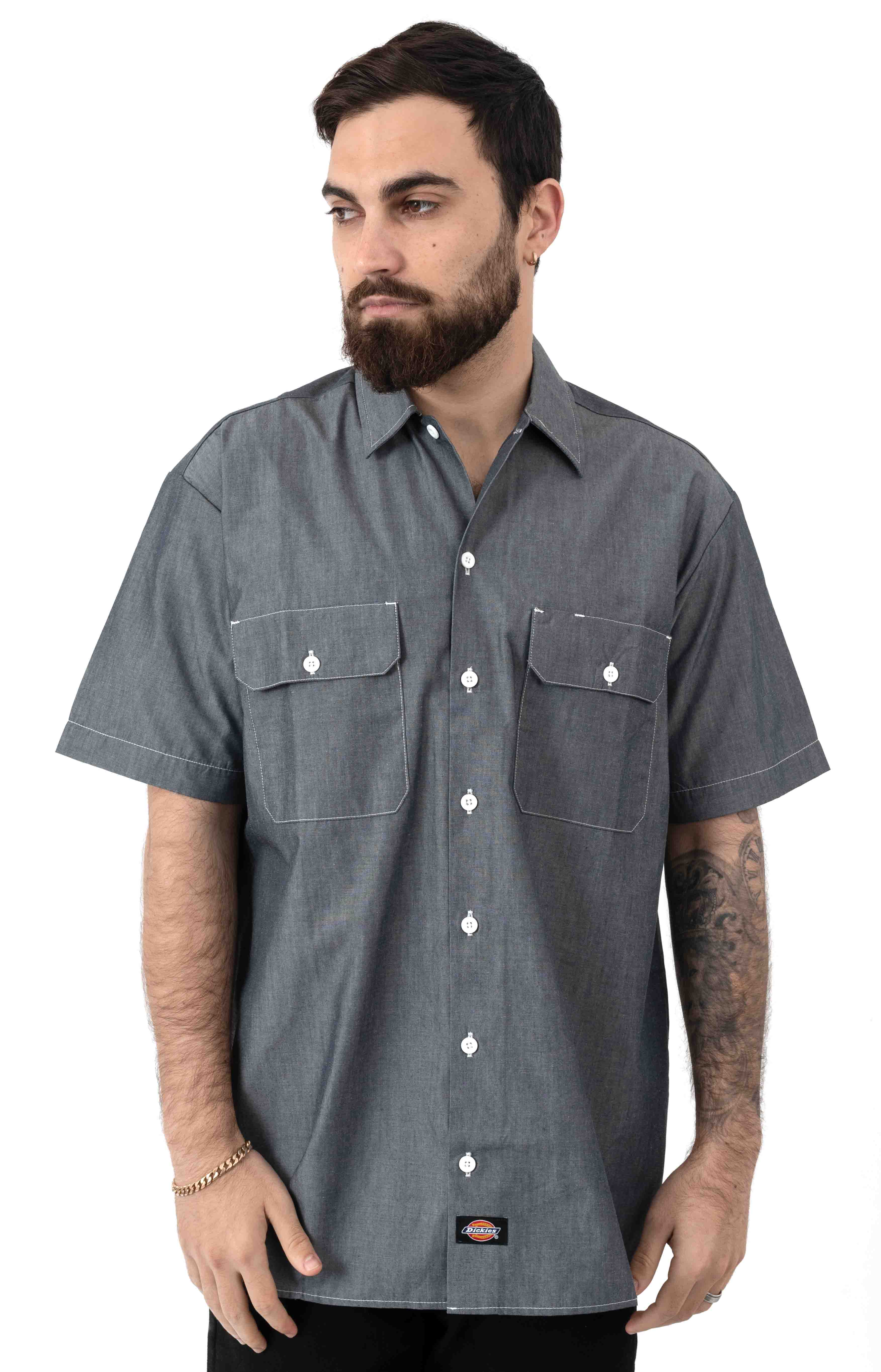 (WS509NVC) Relaxed Fit Short Sleeve Chambray Shirt - Navy Chambray 2