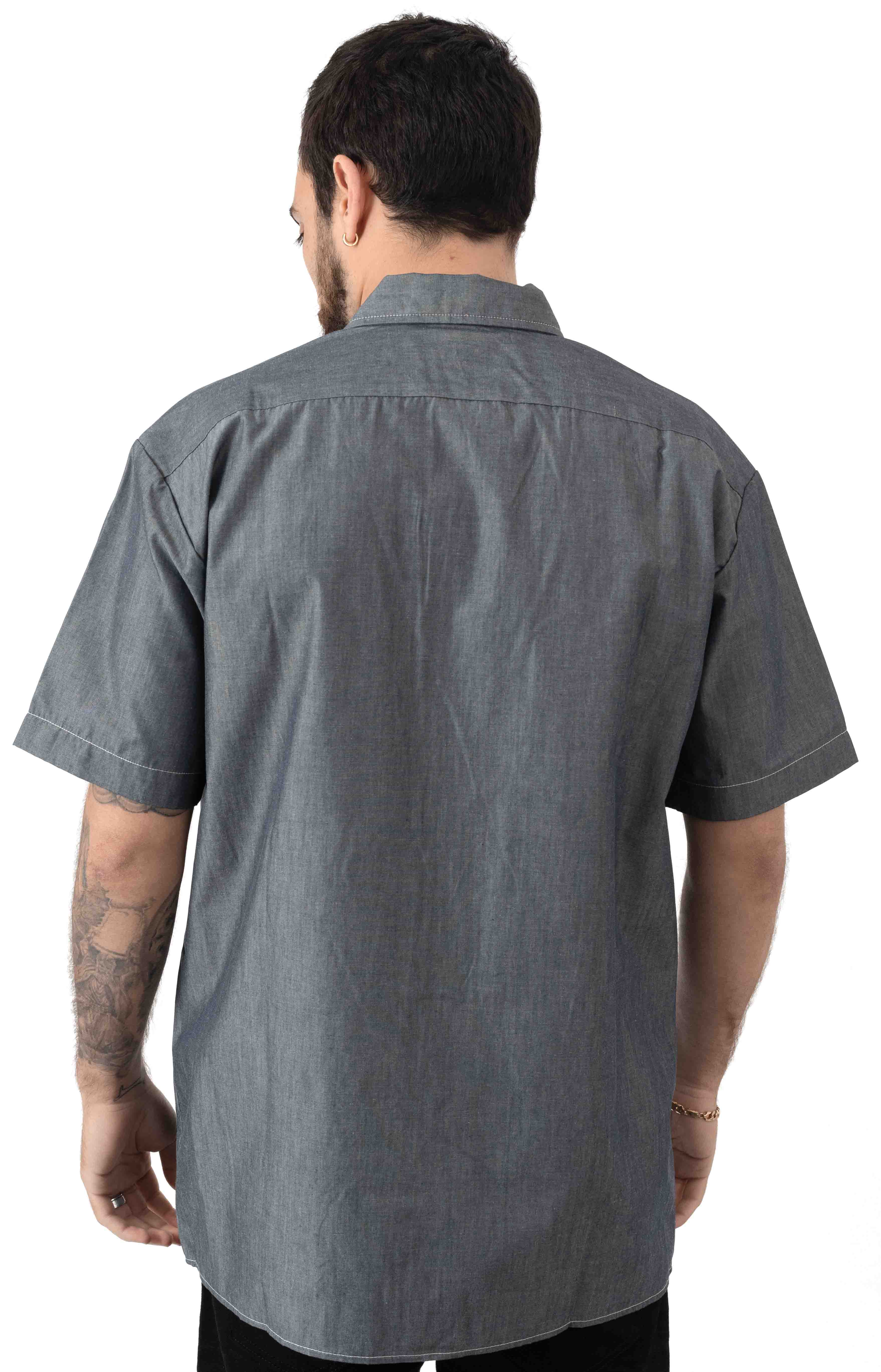 (WS509NVC) Relaxed Fit Short Sleeve Chambray Shirt - Navy Chambray 3