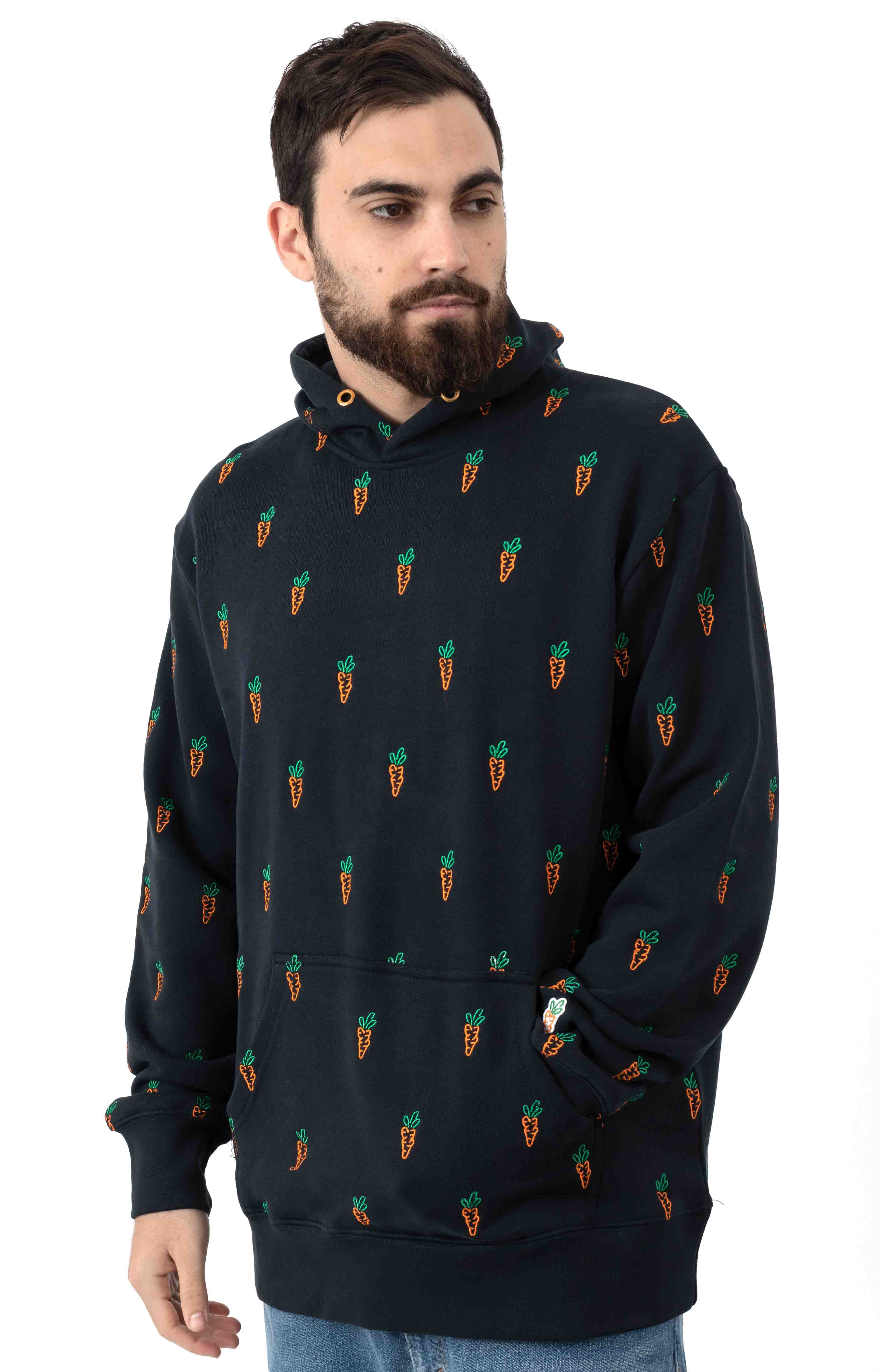 All Over Carrot Pullover Hoodie - Navy 2