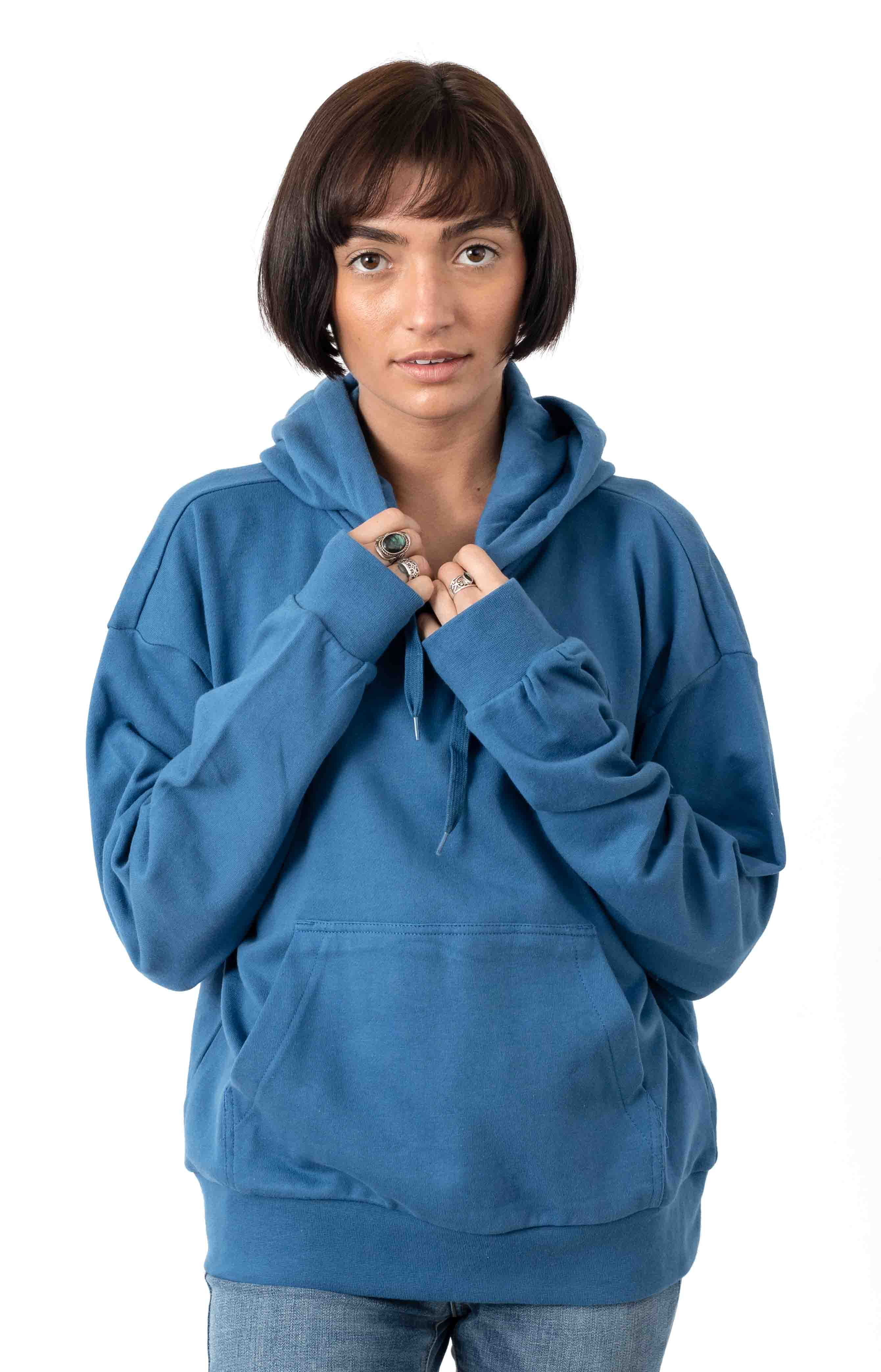 Vintage French Terry Pullover Hoodie - River Blue