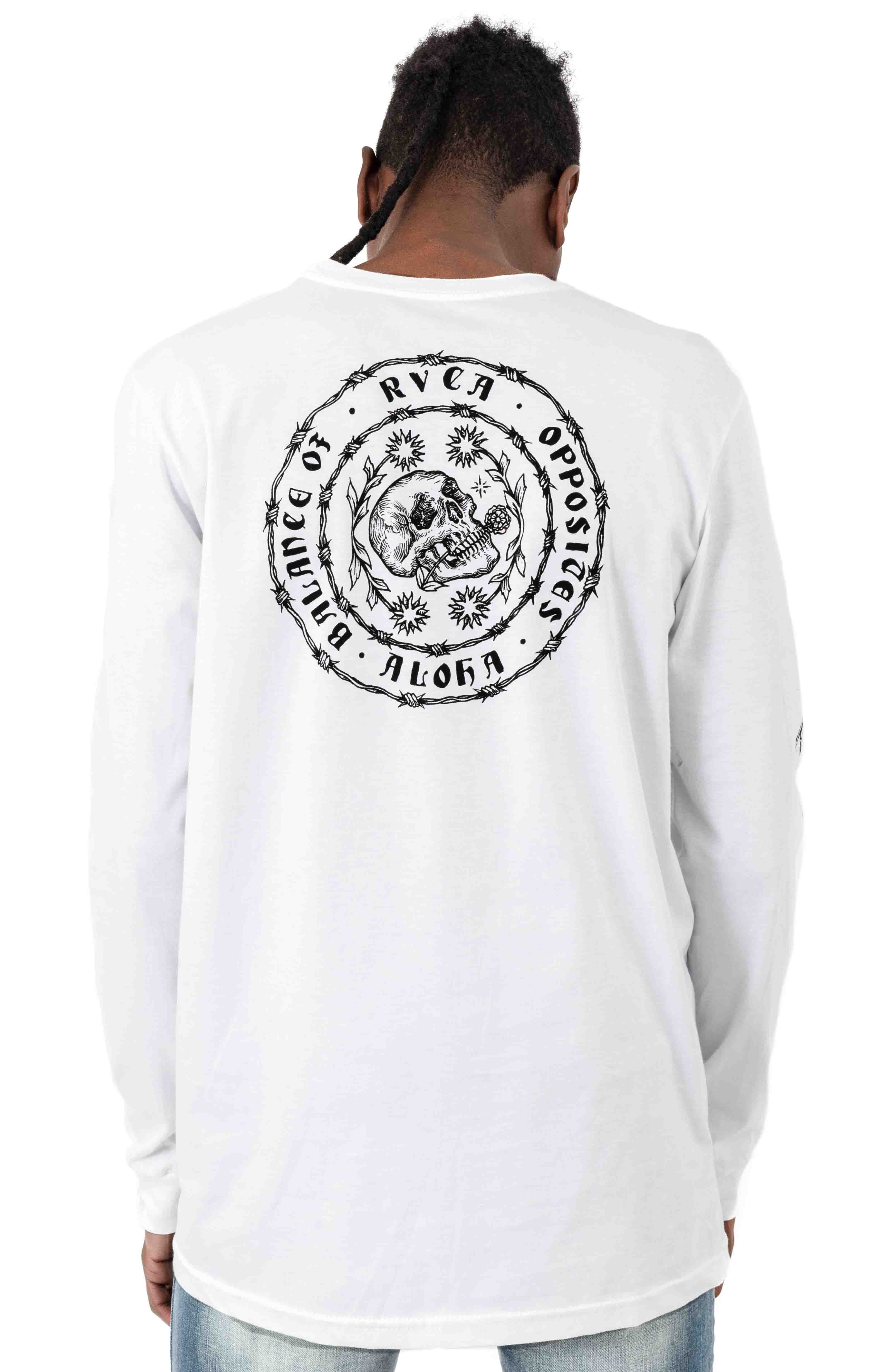 Skull Wire Aloha L/S Shirt - White  3
