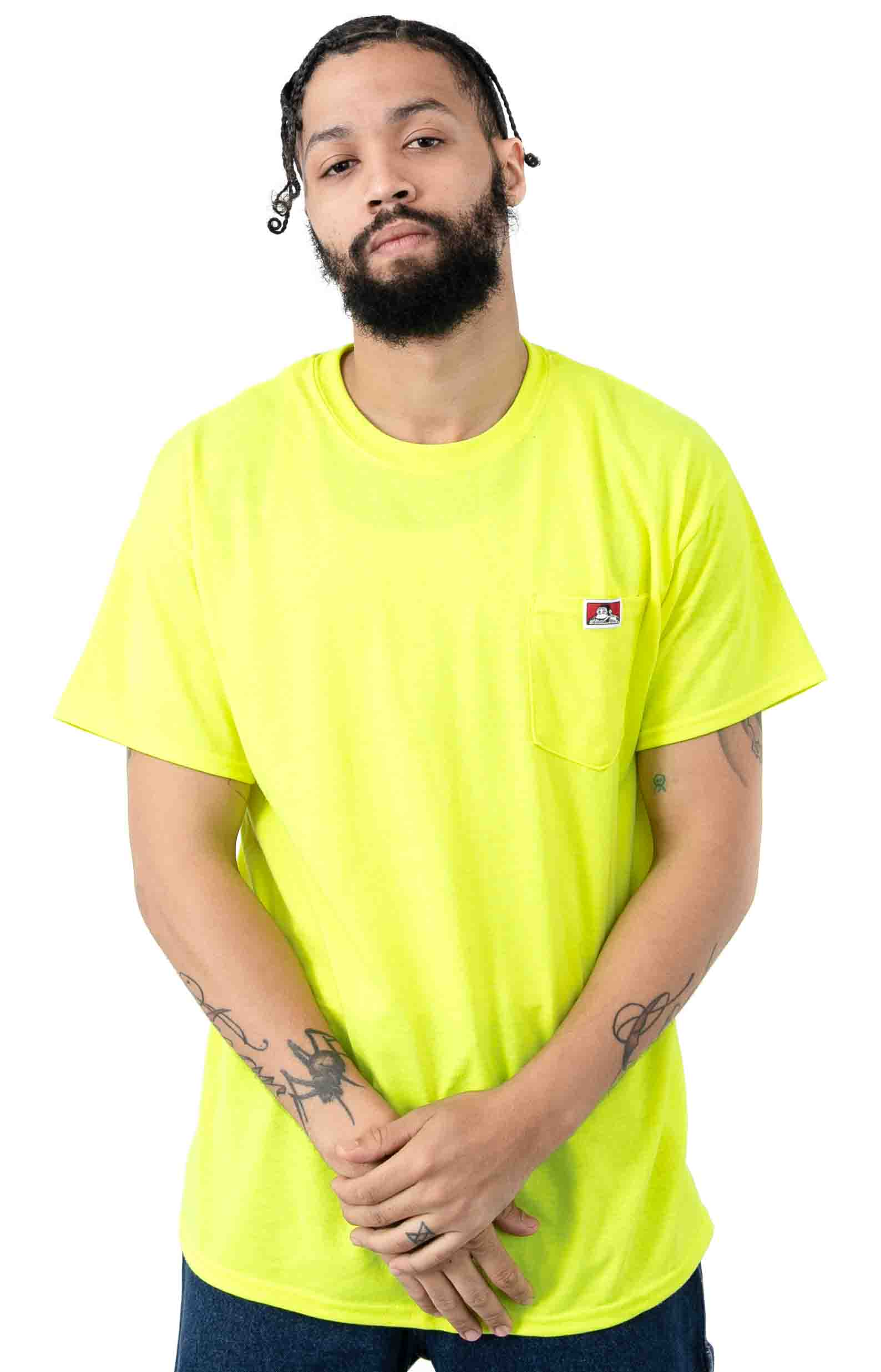 Classic Label Pocket T-Shirt - Safety Green