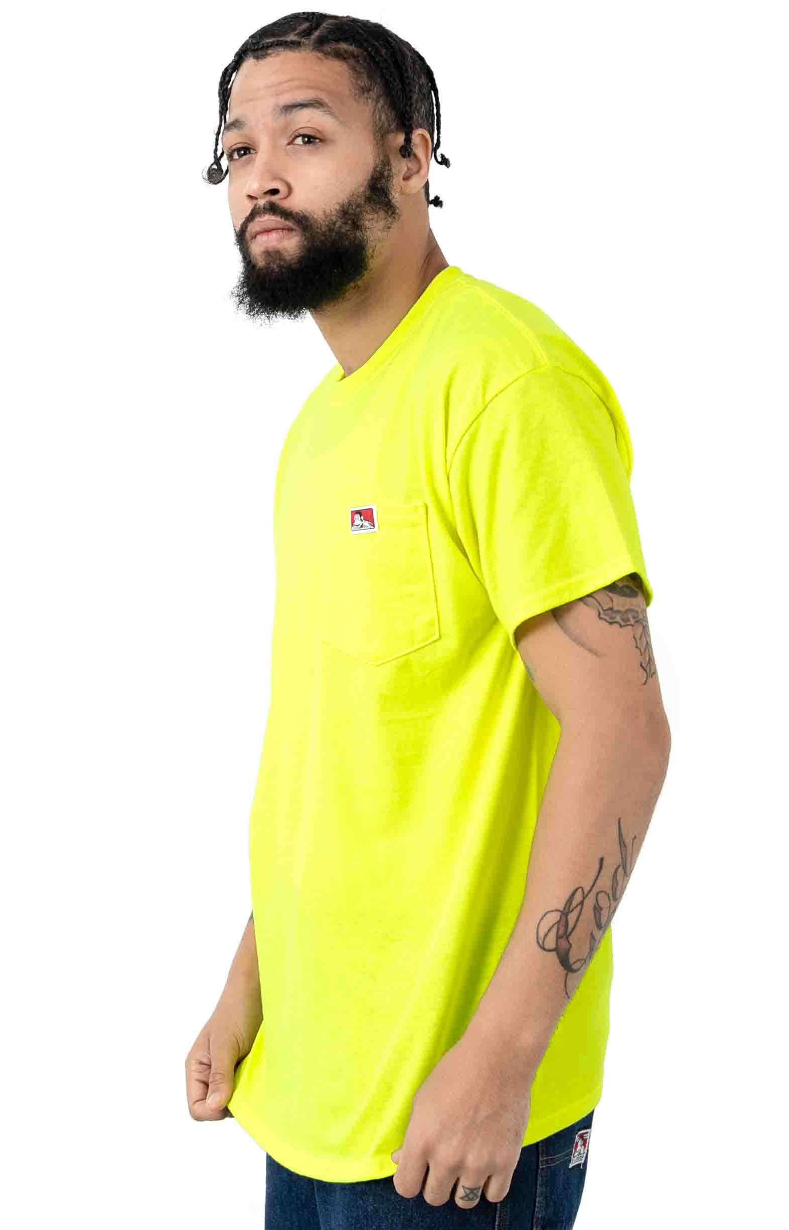 Classic Label Pocket T-Shirt - Safety Green  2