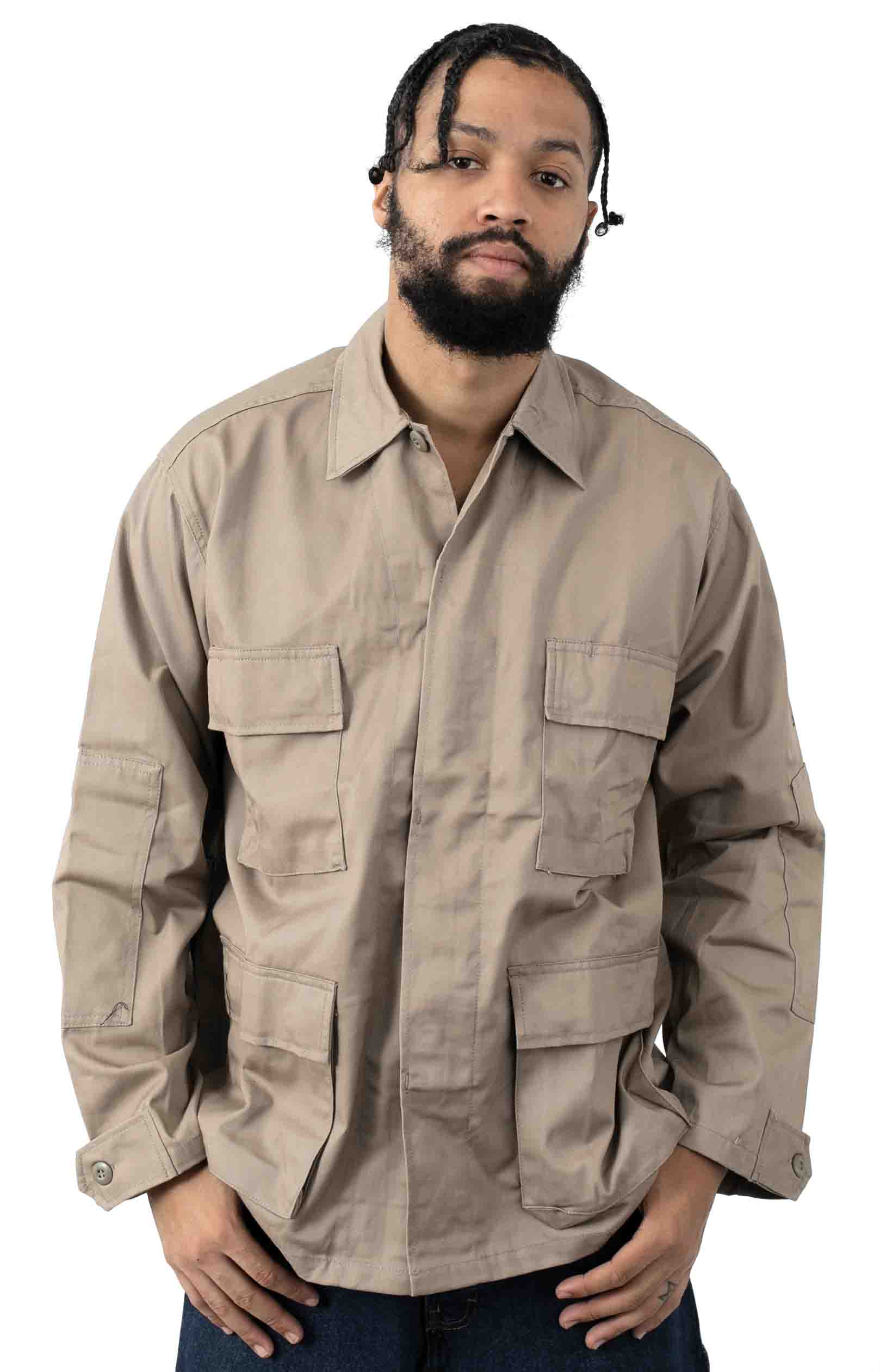 (7900) Rotcho Poly/Cotton Twill Solid BDU Shirt - Khaki