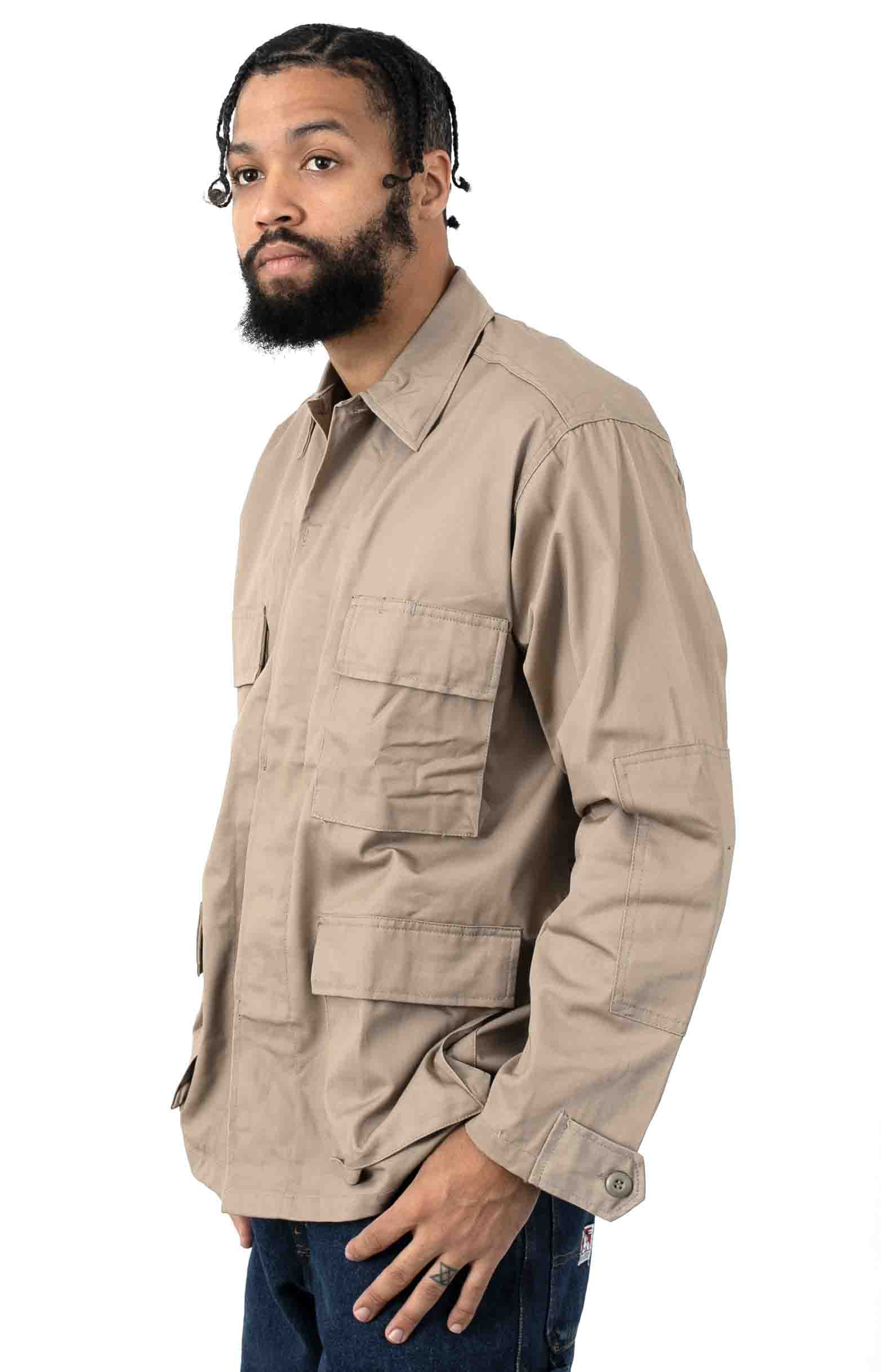 (7900) Rotcho Poly/Cotton Twill Solid BDU Shirt - Khaki  2