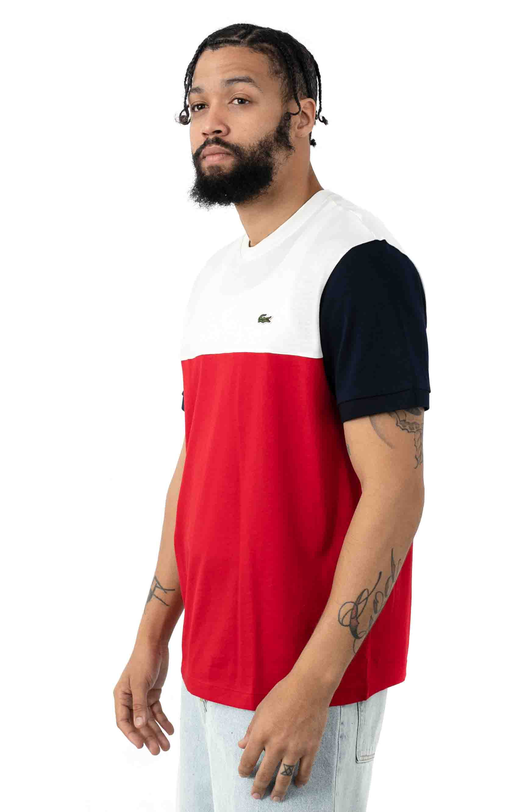 Colorblock Regular Fit Cotton Jersey T-Shirt - Red/White/Navy Blue 2