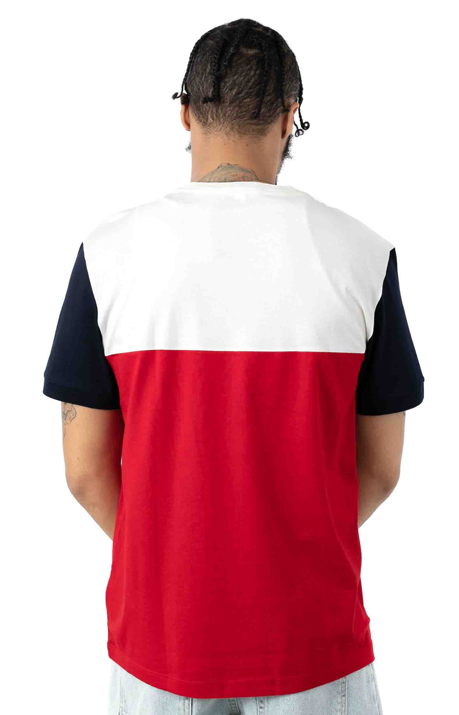Colorblock Regular Fit Cotton Jersey T-Shirt - Red/White/Navy Blue 3