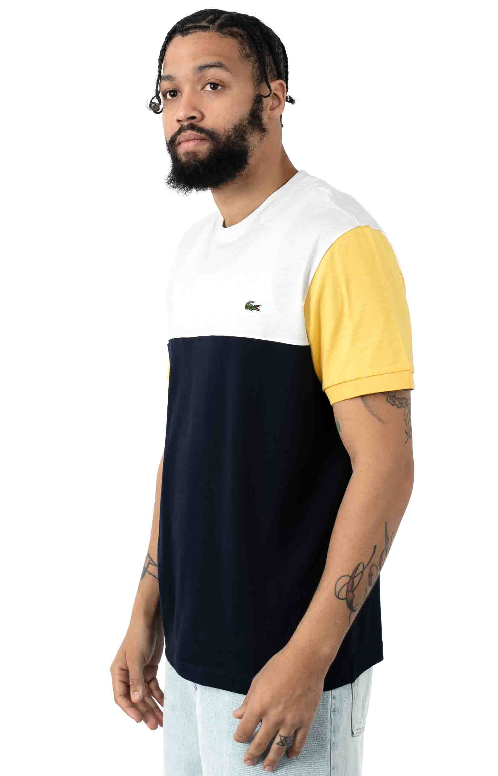 Colorblock Regular Fit Cotton Jersey T-Shirt - Navy Blue/White 2