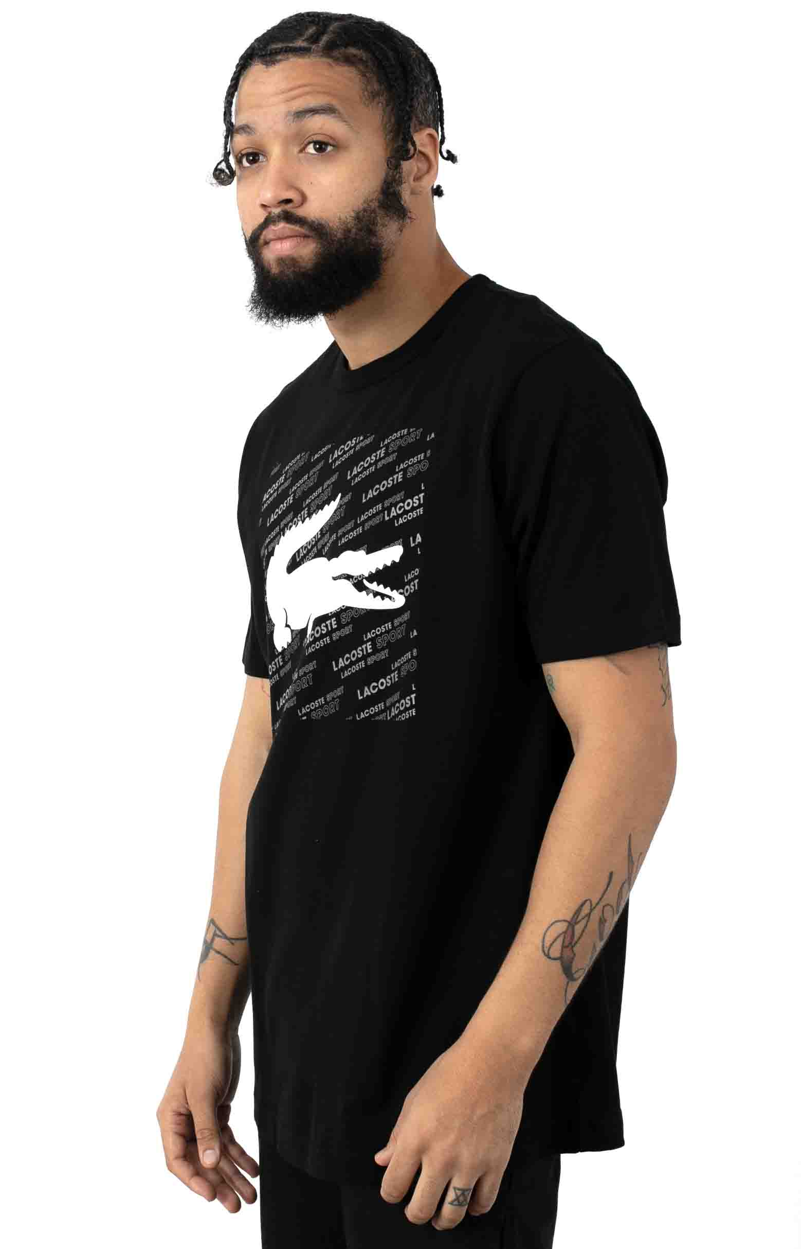 SPORT Reflective Logo-Print Cotton T-Shirt - Black/White 2
