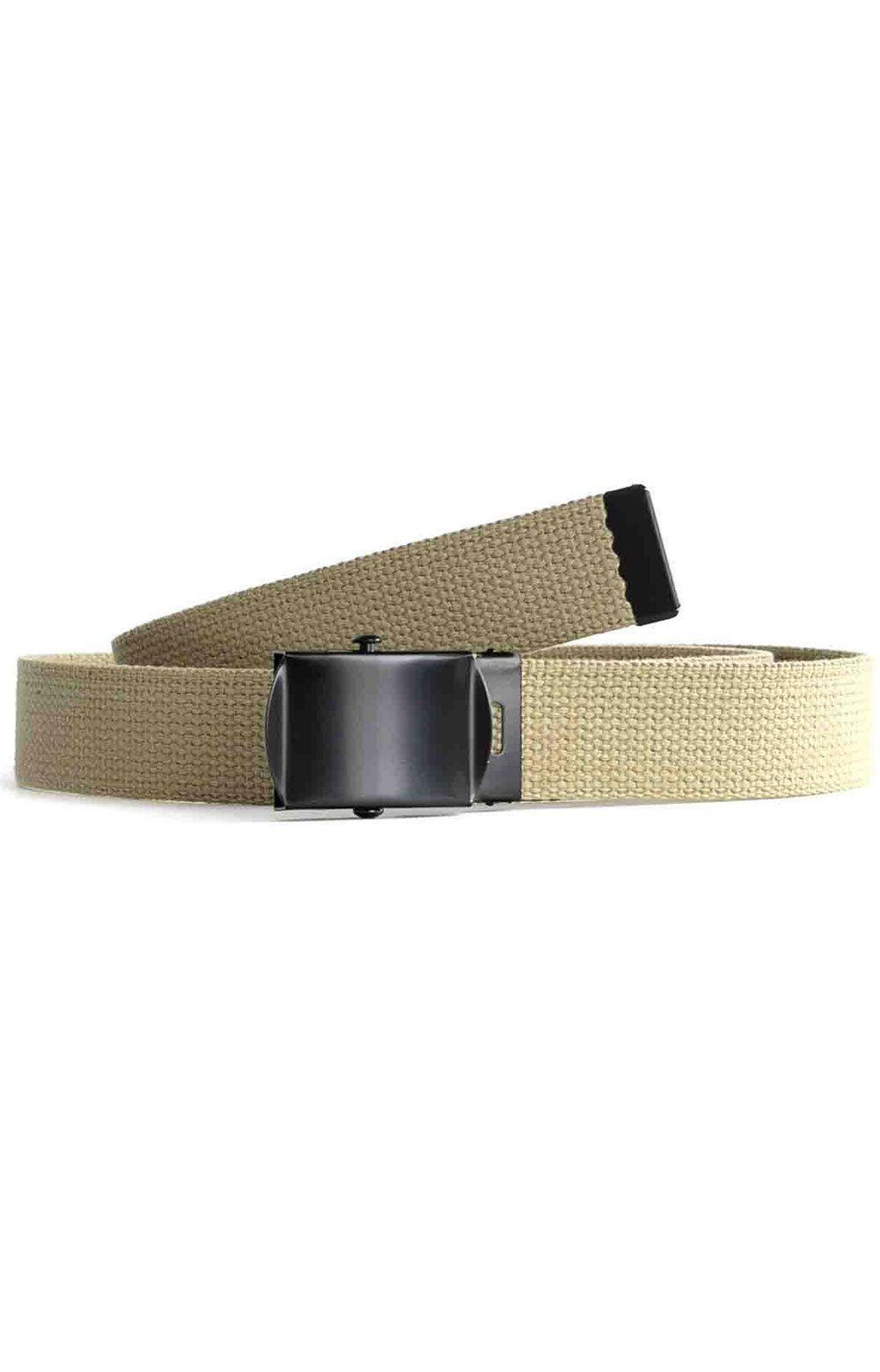 (4294) Military Web Belt With Black Buckle - Khaki 2