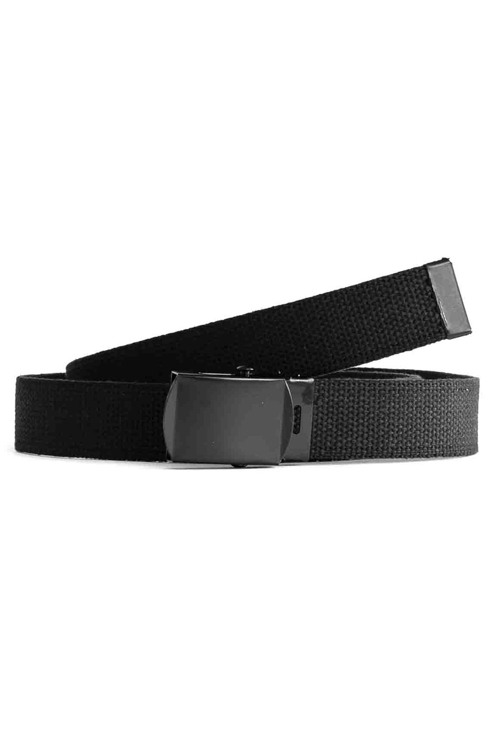 (4294) Military Web Belt With Black Buckle - Black 2