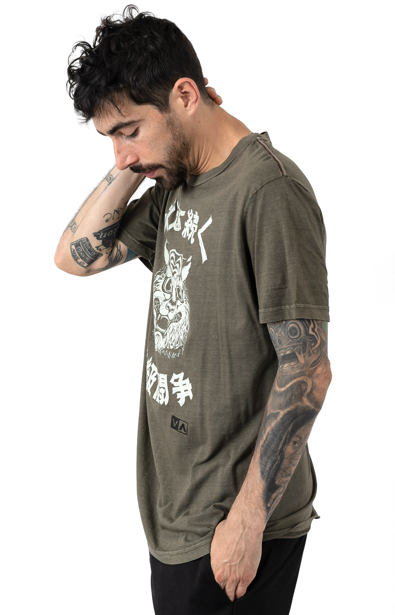 Tiger Stare T-Shirt - Olive  2