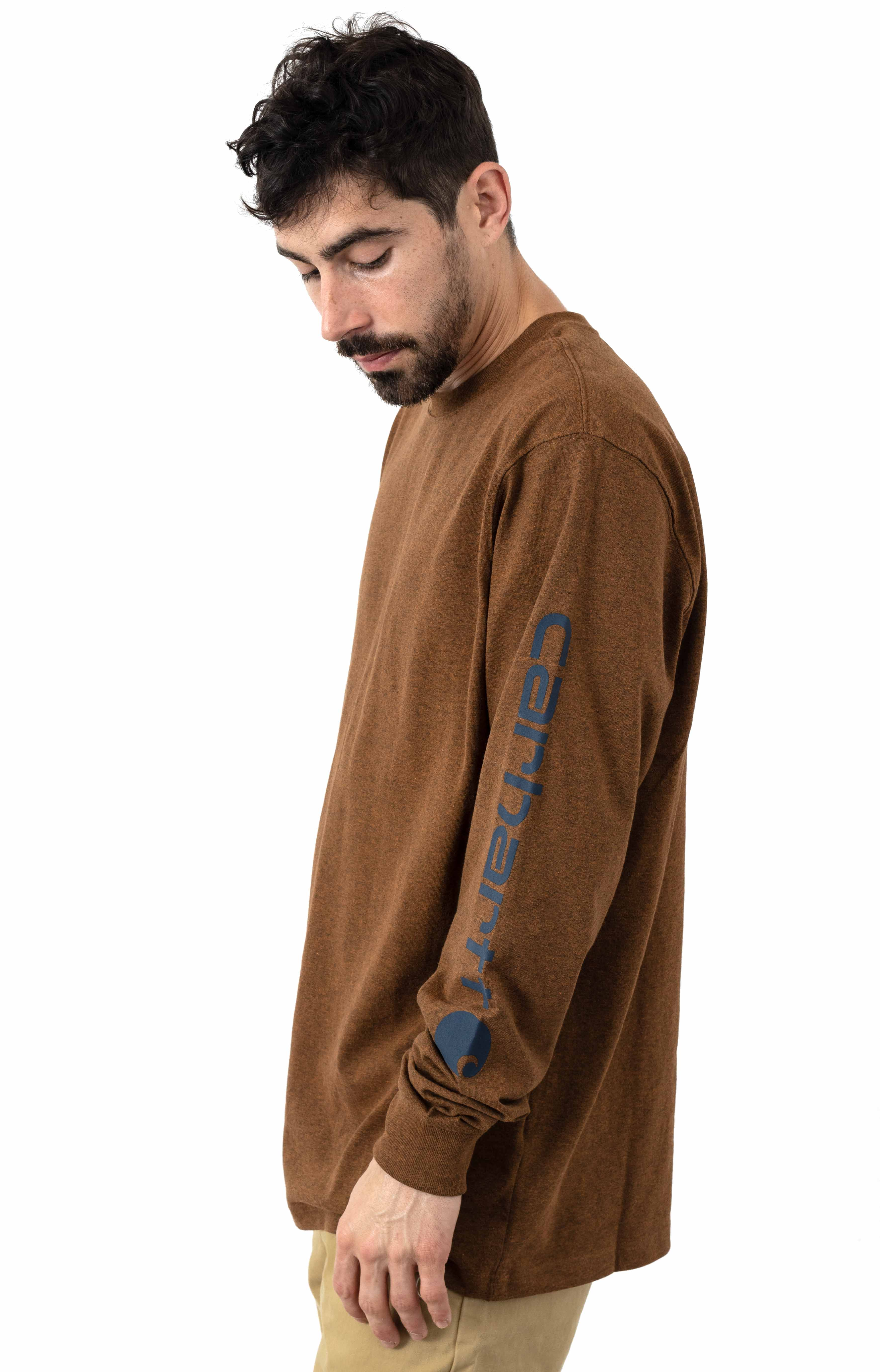(K231) Signature Sleeve Logo L/S Shirt - Oiled Walnut Heather  2