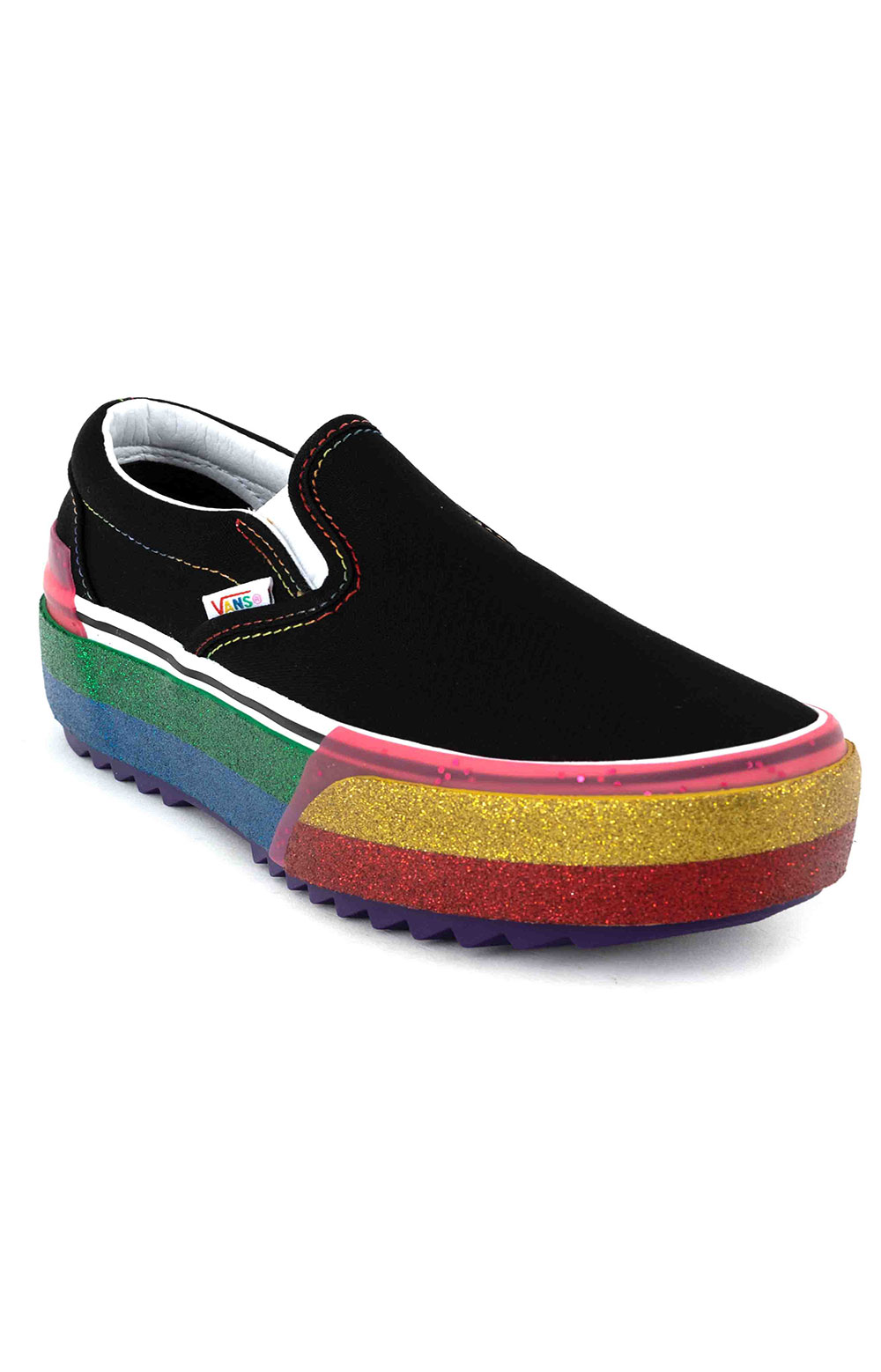 (TZVWW1) Glitter Classic Slip-On Stacked Shoes - Black/Rainbow 3