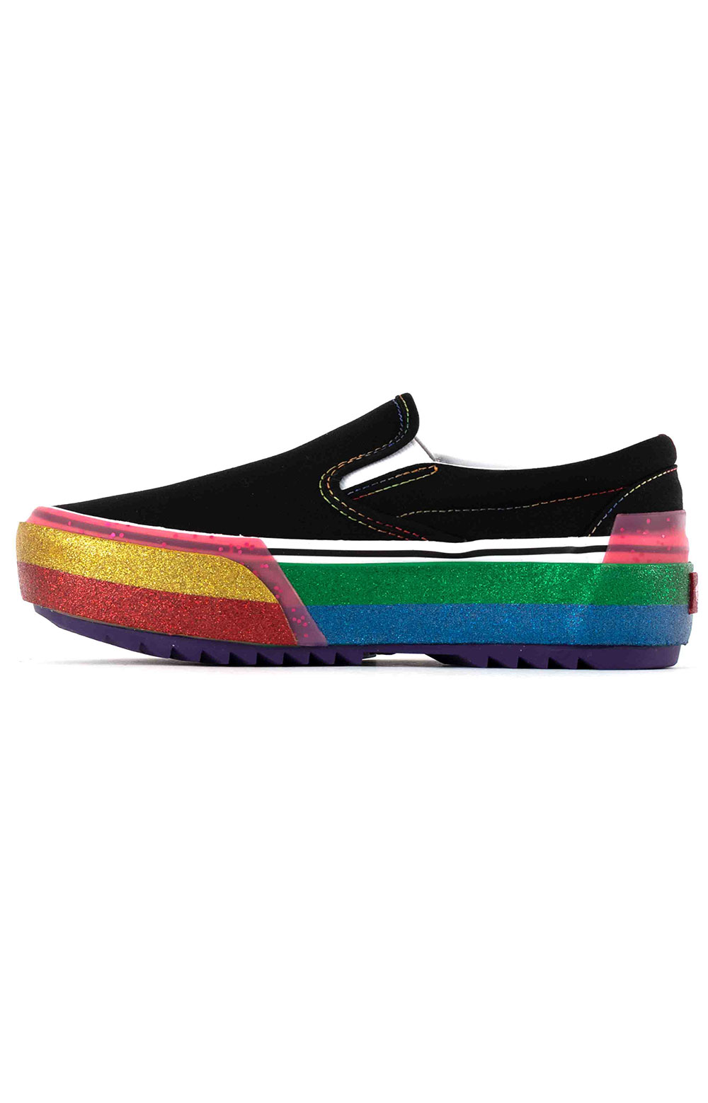 (TZVWW1) Glitter Classic Slip-On Stacked Shoes - Black/Rainbow 4
