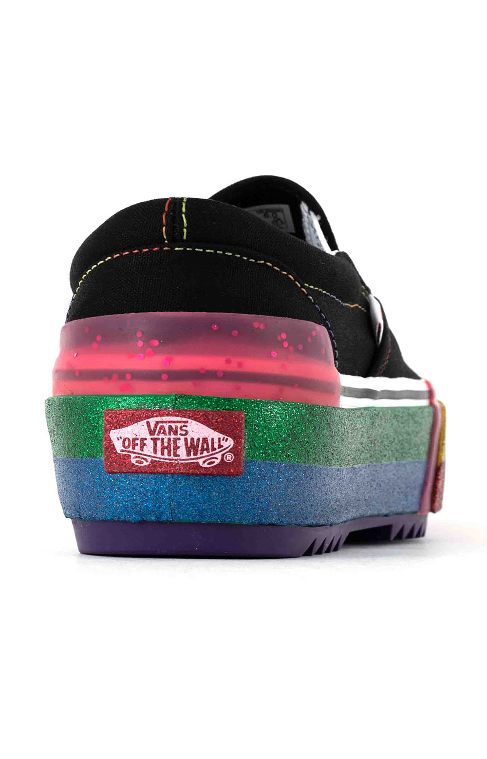 (TZVWW1) Glitter Classic Slip-On Stacked Shoes - Black/Rainbow 5