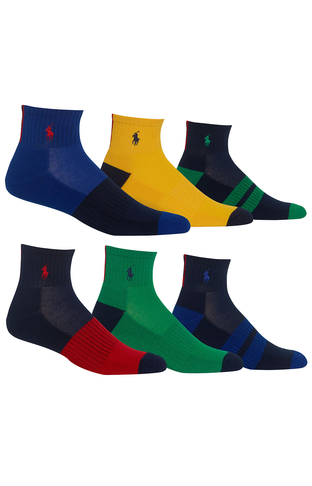 Colorblock Cushioned Quarter Socks - 6 Pack 2