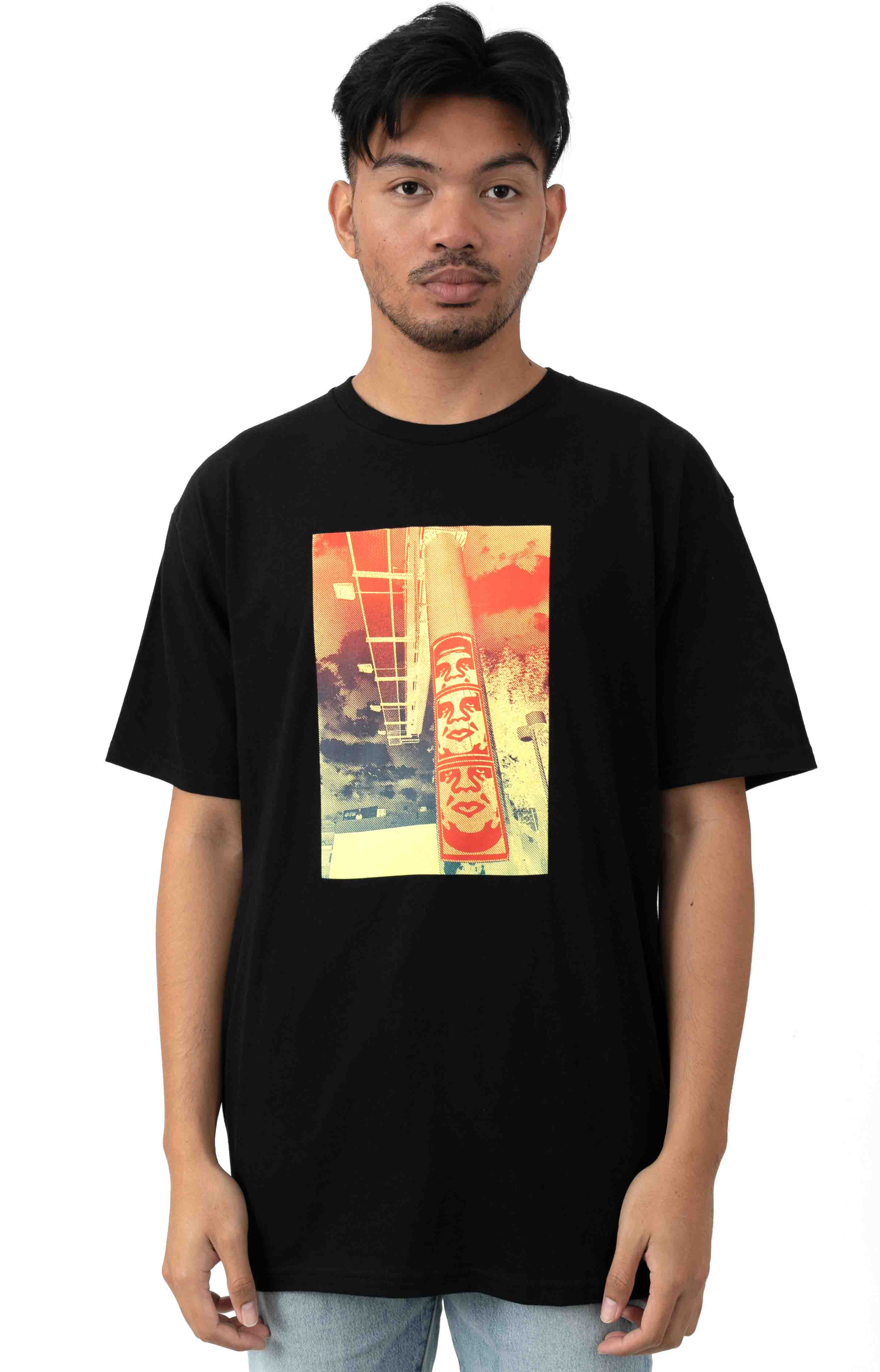 3 Face Clouds T-Shirt - Black