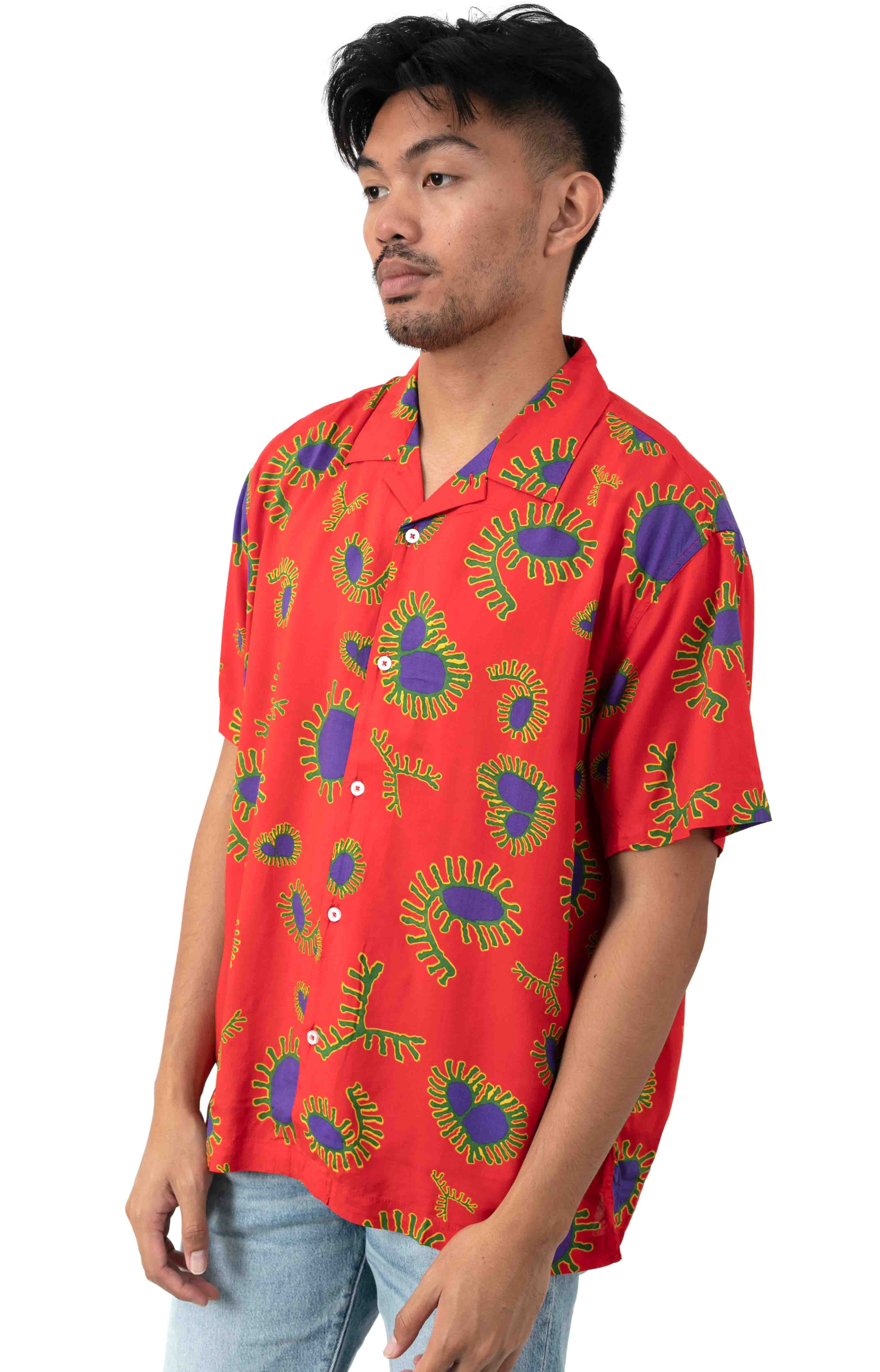 Duster Button-Up Shirt - Red Multi  2