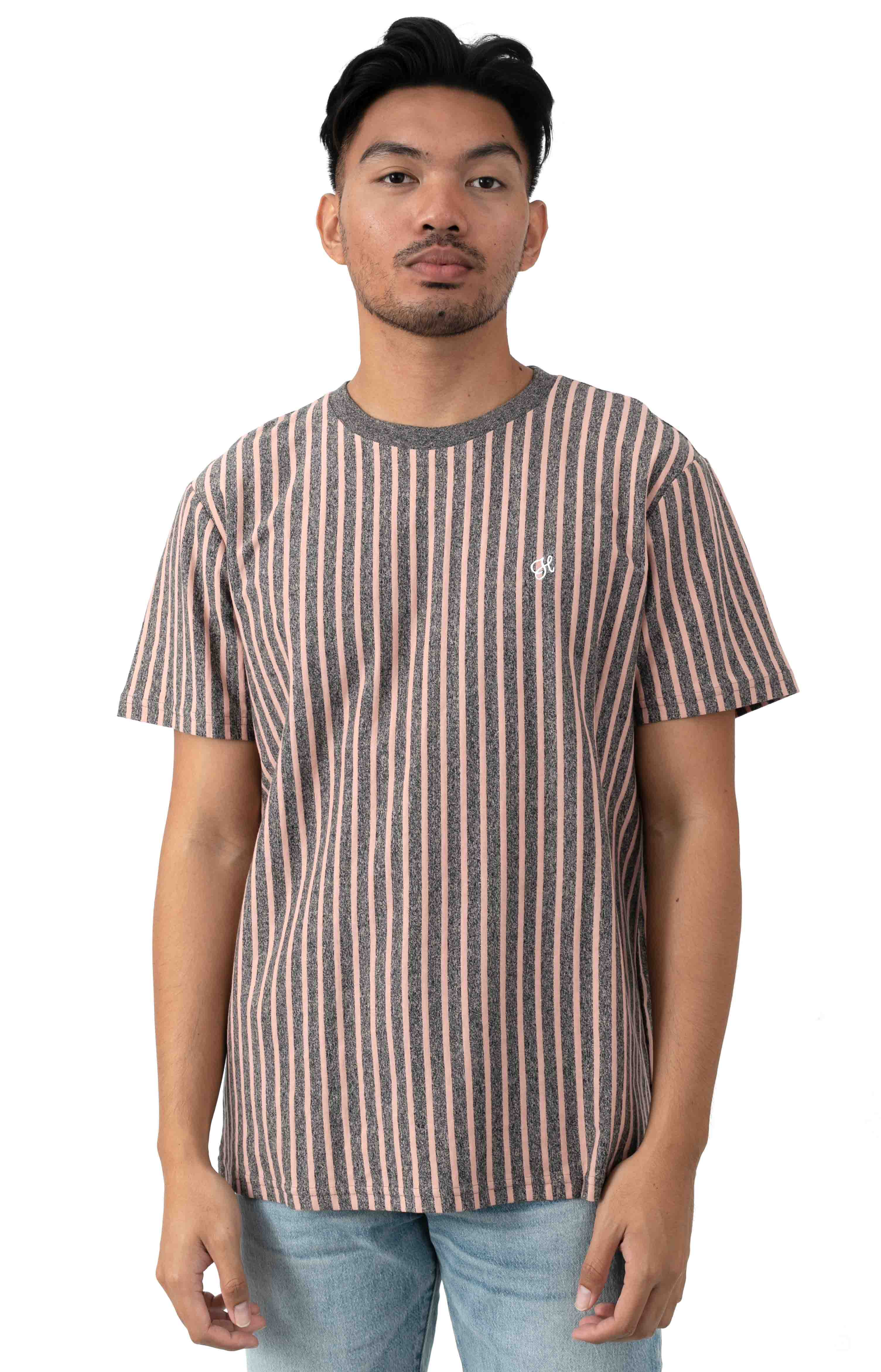 Overdyed Vertical Stripe Shirt - Coral Pink