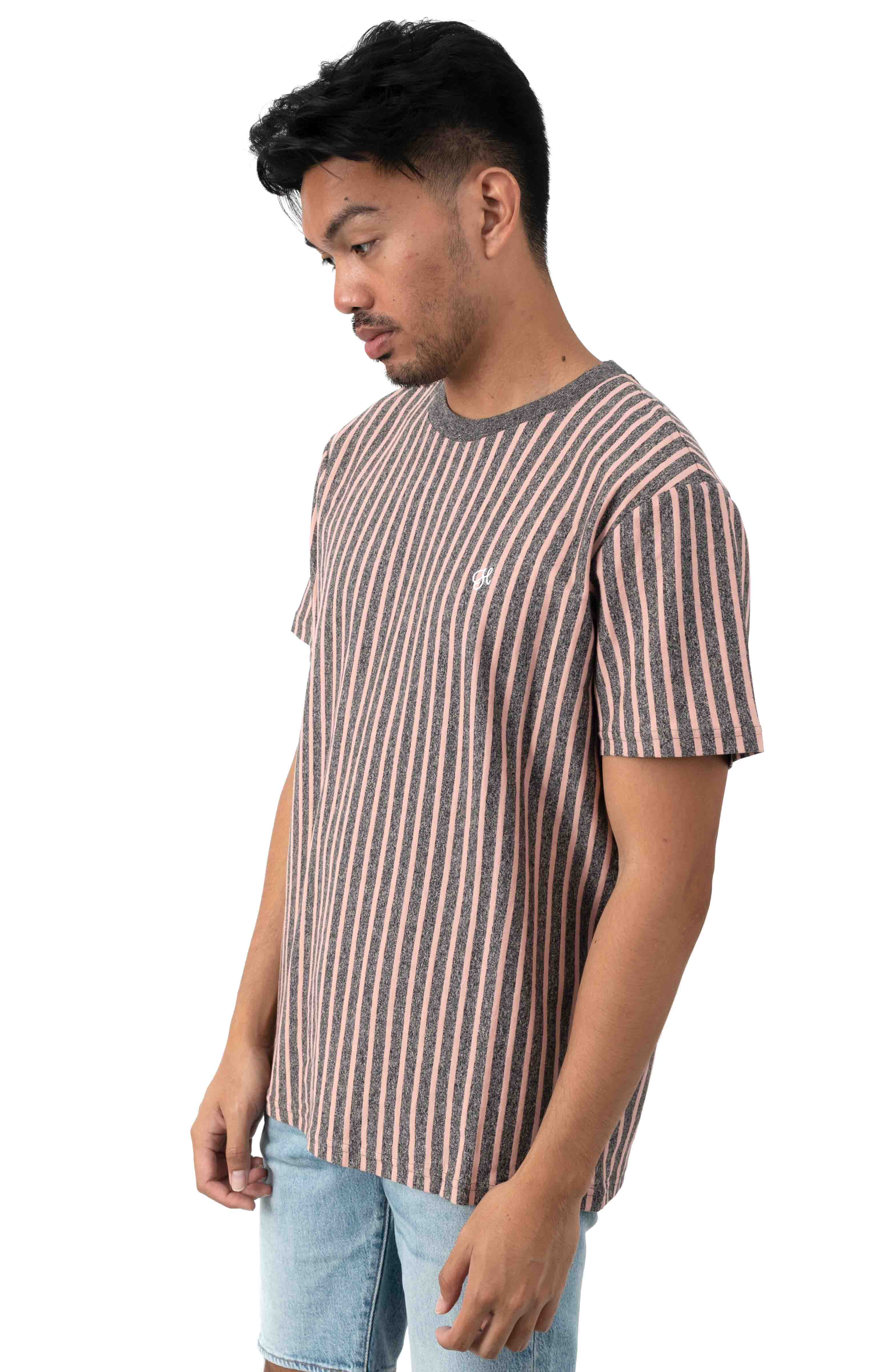 Overdyed Vertical Stripe Shirt - Coral Pink 2