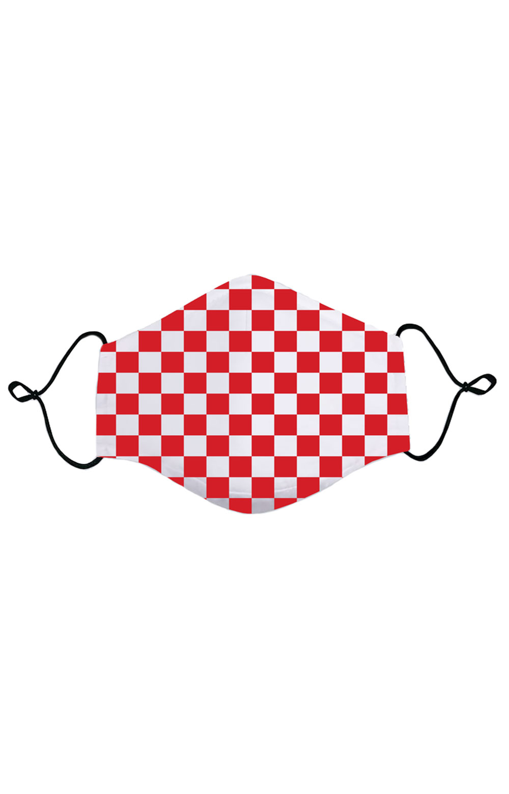 Adult Anti Bacterial Knit Face Mask - Red Checkerboard
