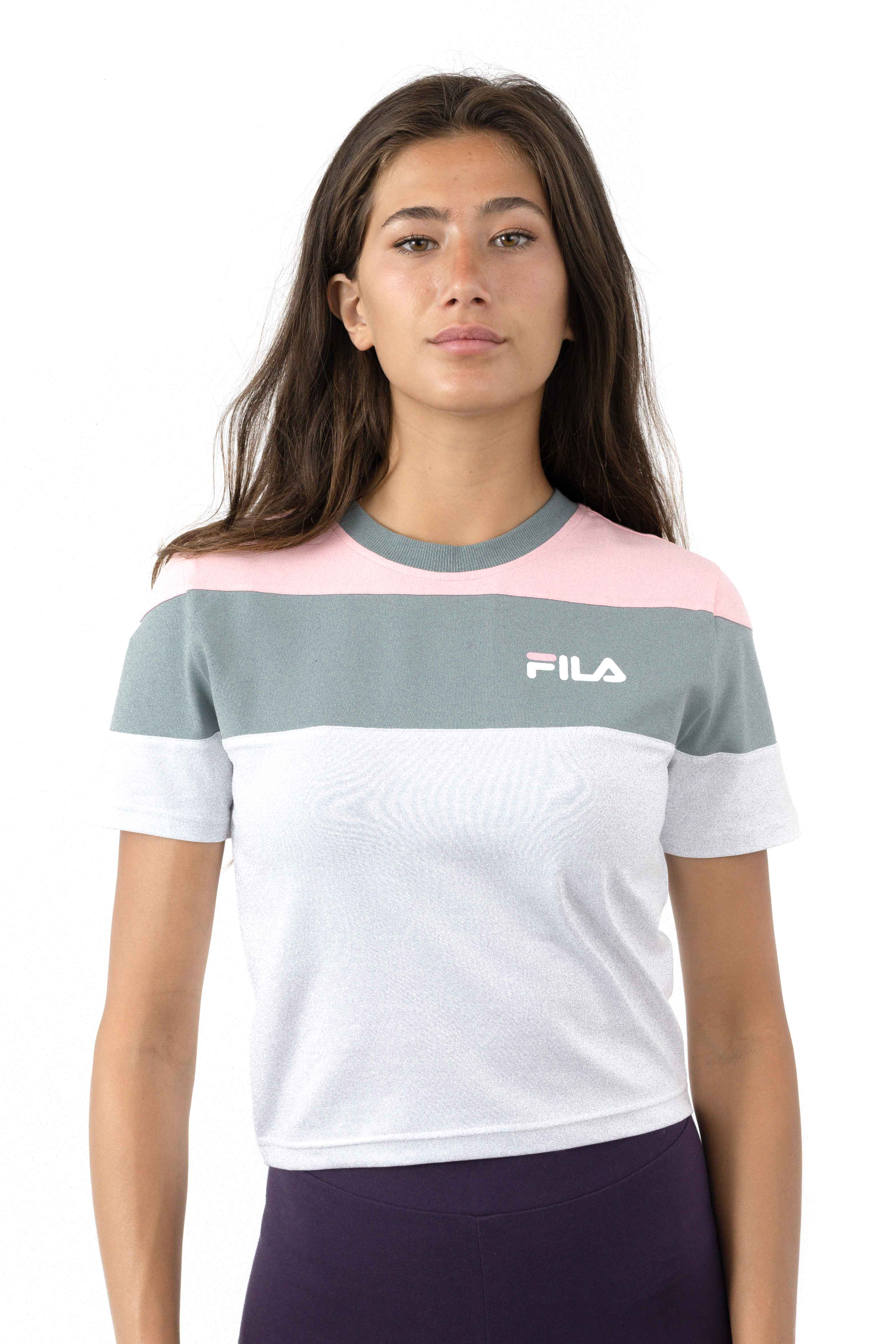 Filawomens Maya Crop Tee - White/Lead/Candy Pink
