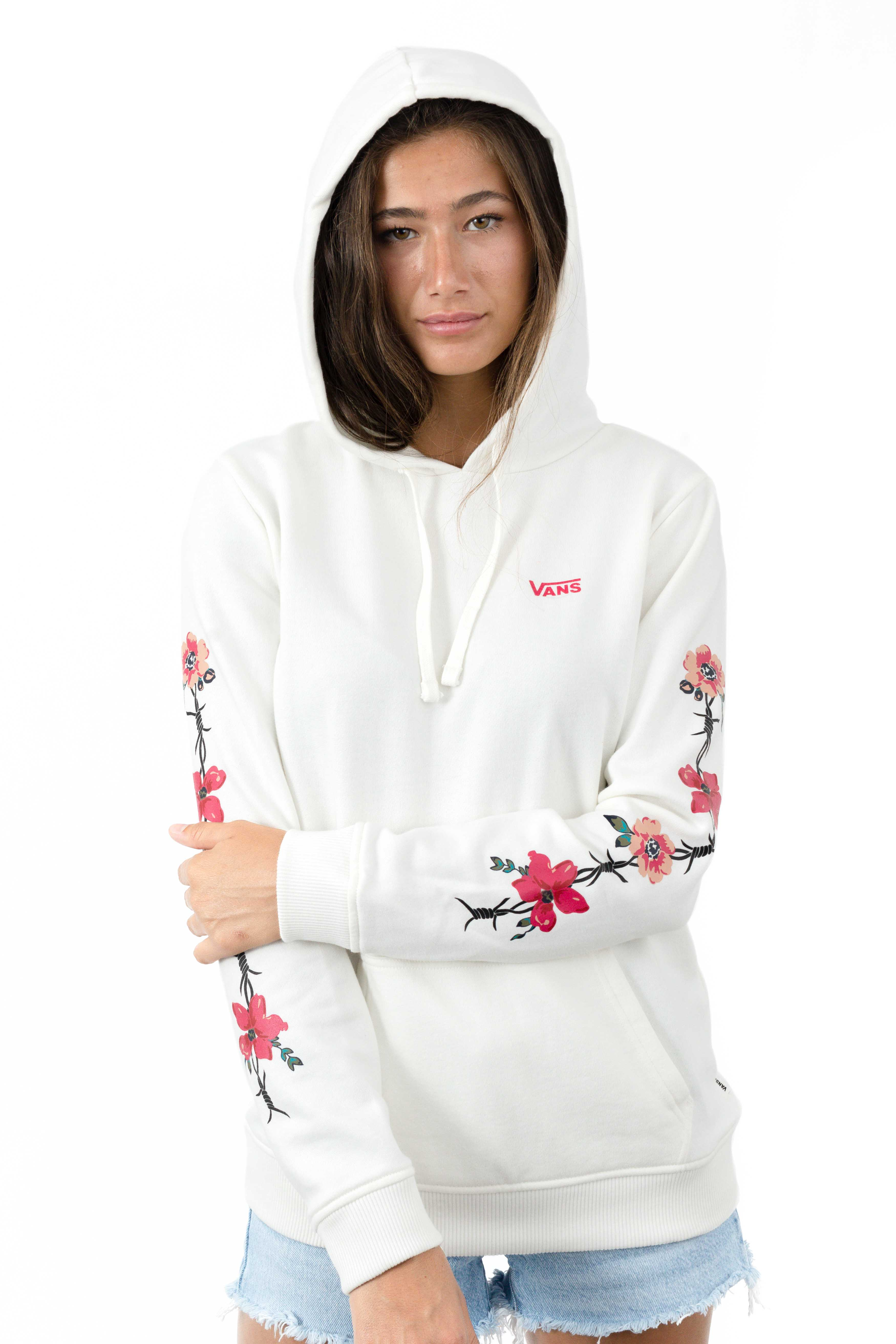 Barbed Floral Pullover Hoodie - Marshmallow