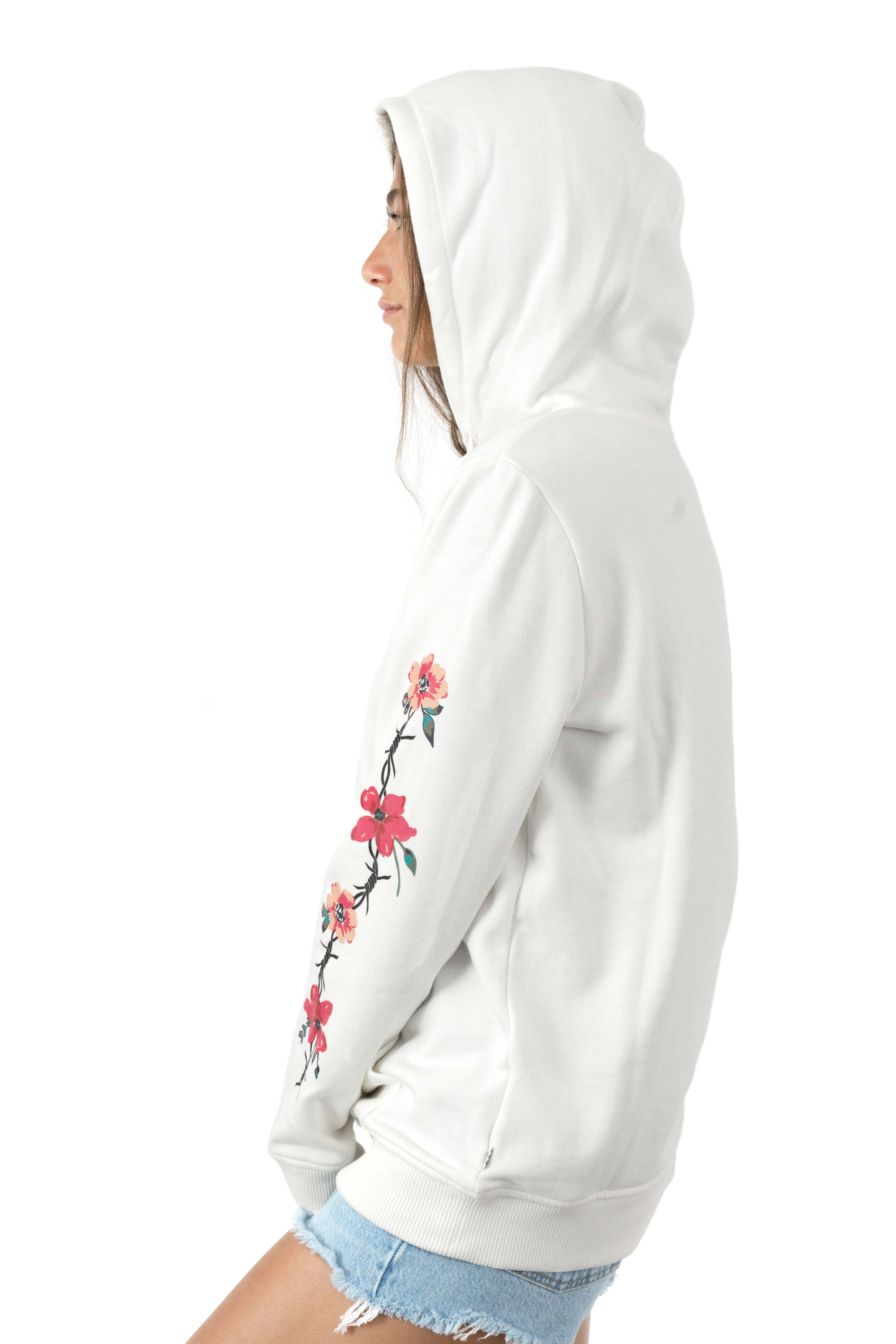 Barbed Floral Pullover Hoodie - Marshmallow  2