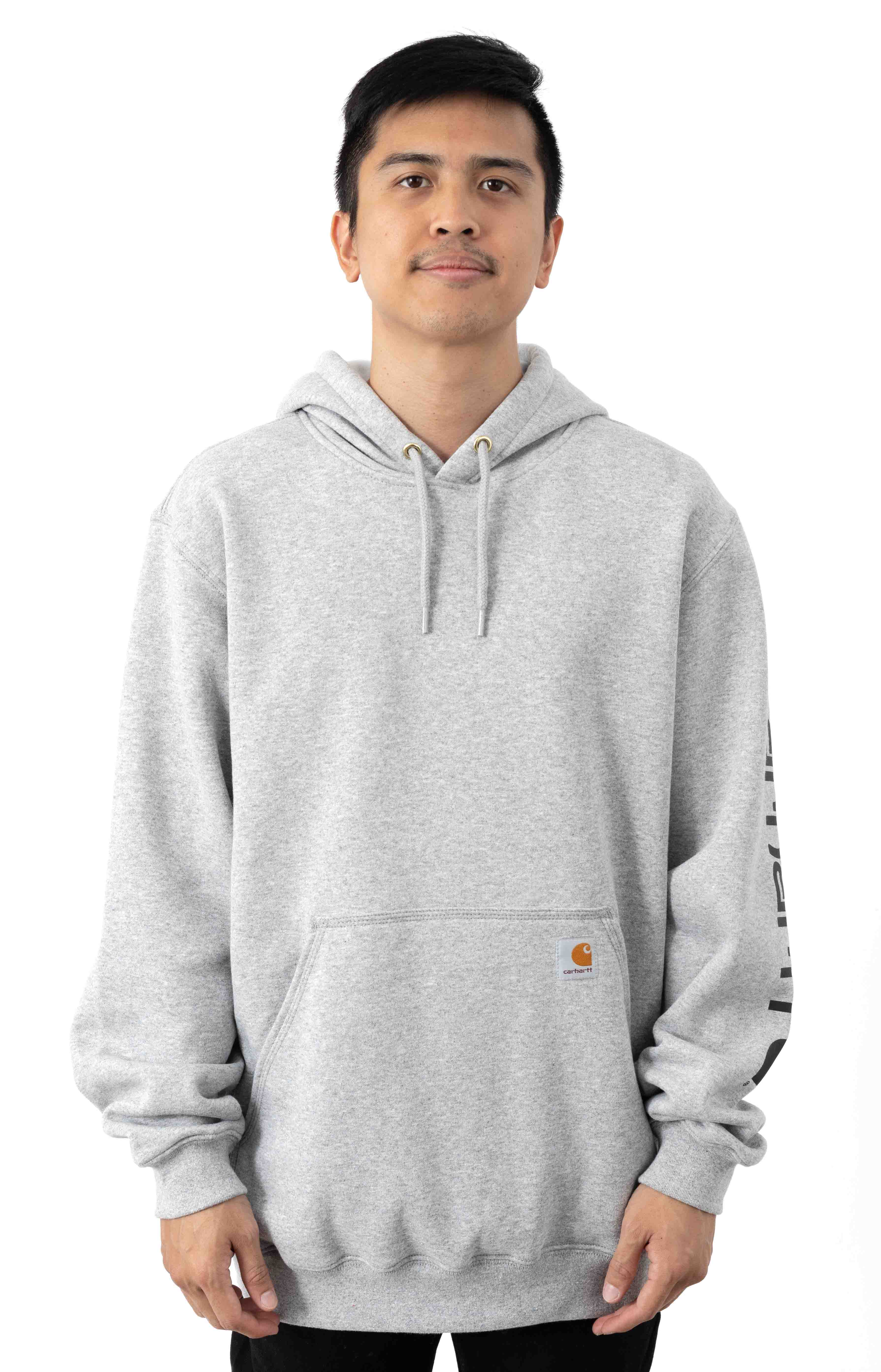 (K288) MW Signature Sleeve Logo Pullover Hoodie - Heather Grey/Black
