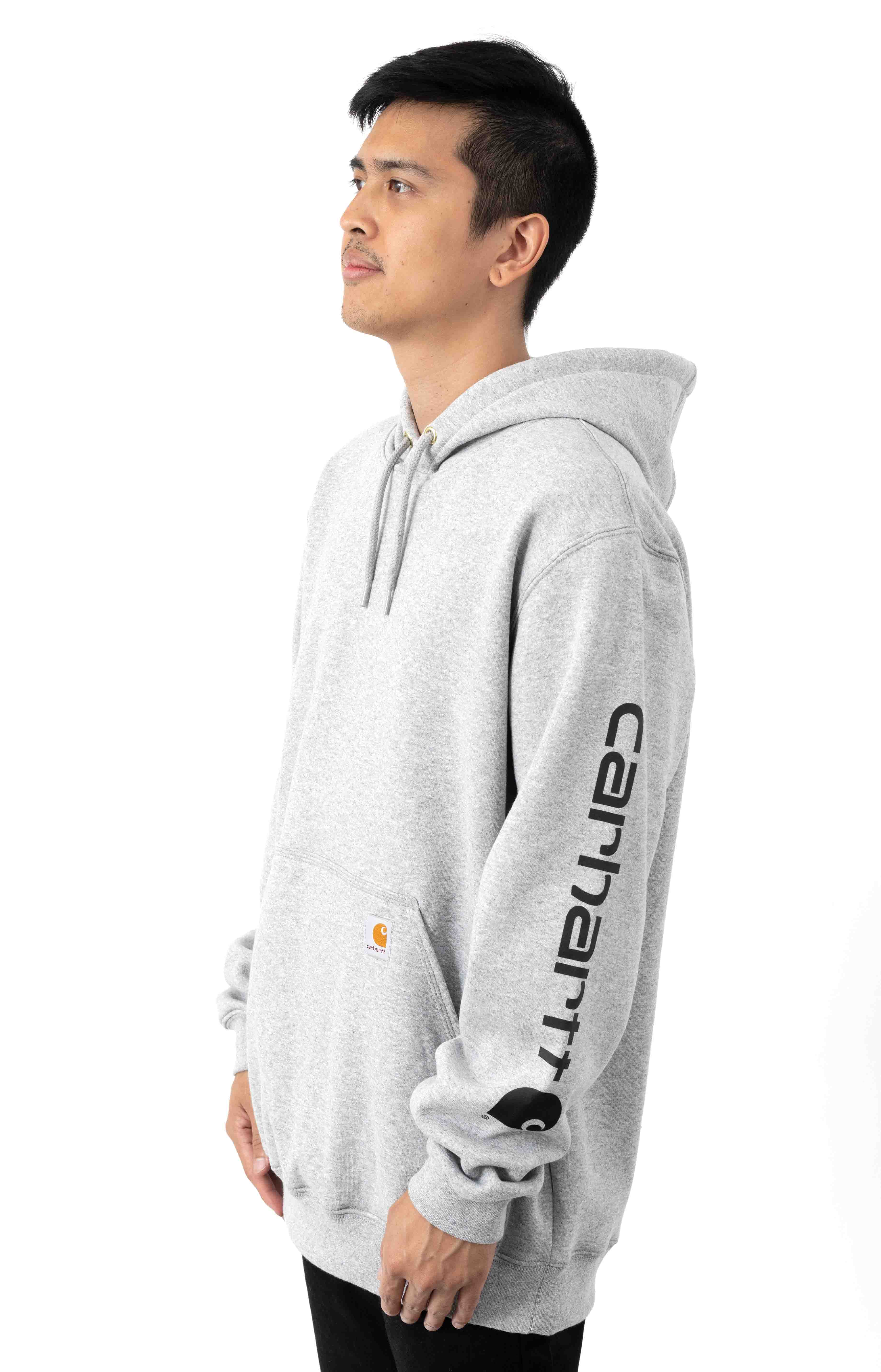 (K288) MW Signature Sleeve Logo Pullover Hoodie - Heather Grey/Black 2