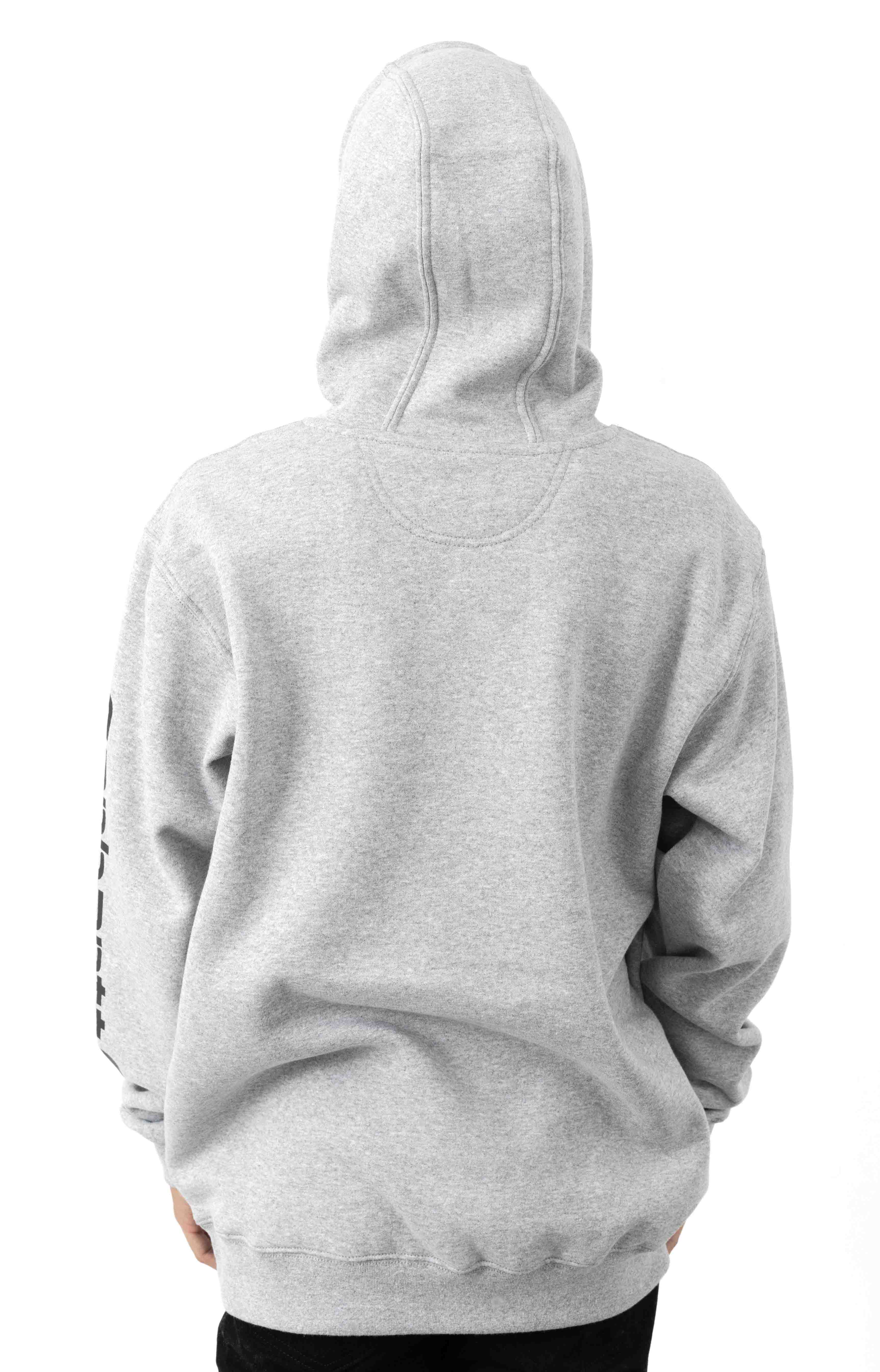 (K288) MW Signature Sleeve Logo Pullover Hoodie - Heather Grey/Black 3
