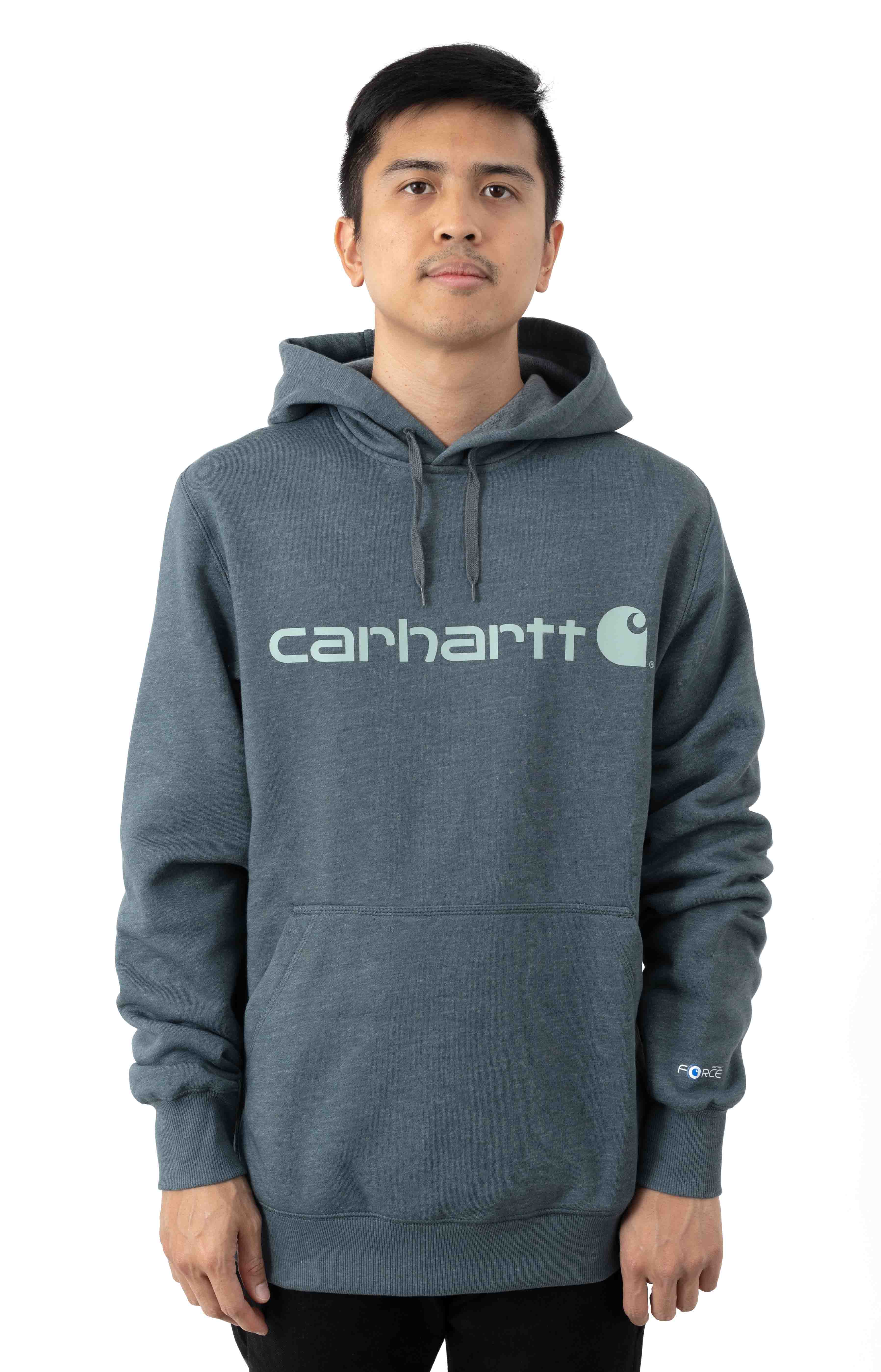 (103873) Force Delmont Signature Graphic Pullover Hoodie - Ink Green Heather