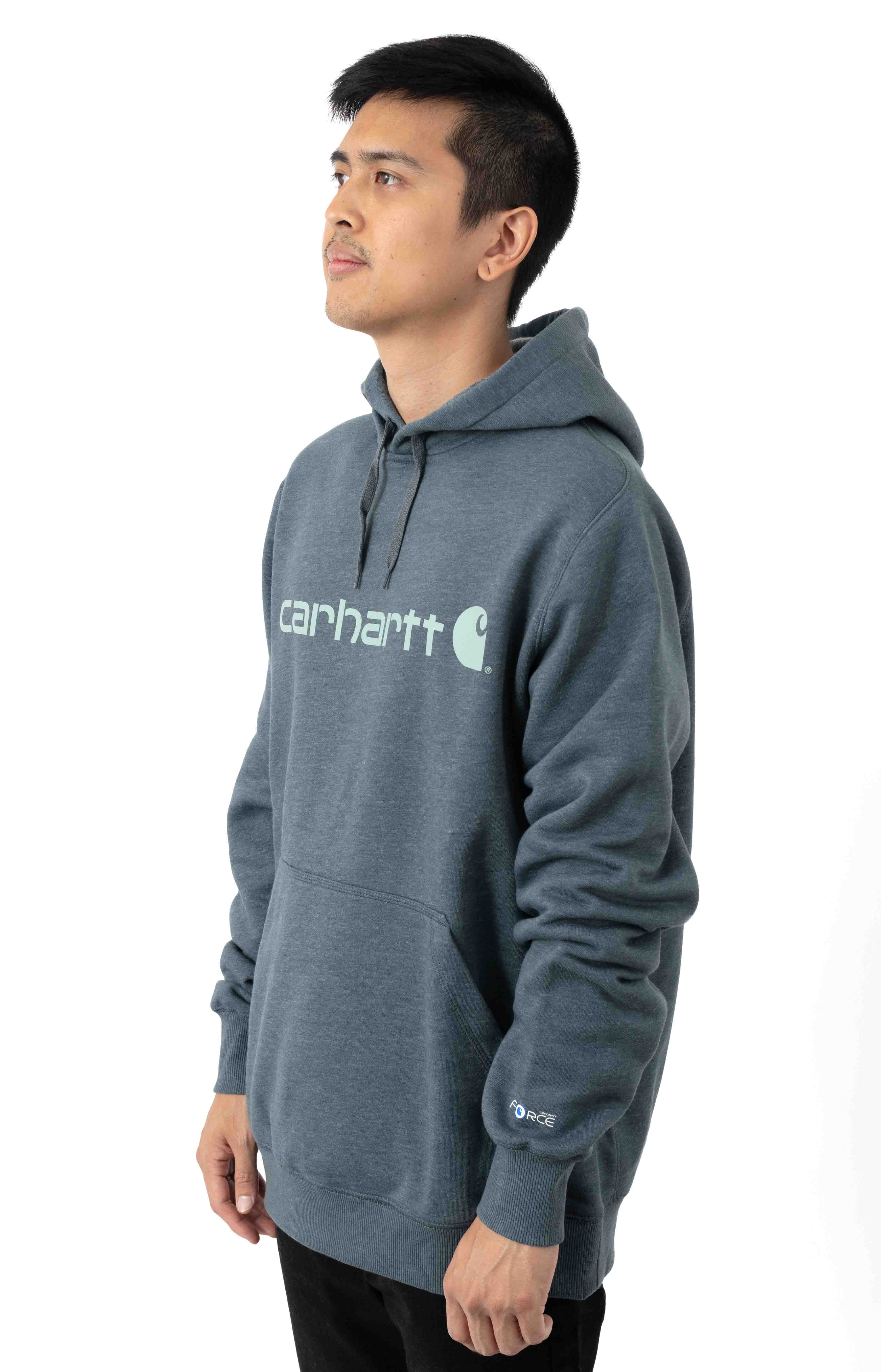 (103873) Force Delmont Signature Graphic Pullover Hoodie - Ink Green Heather  2