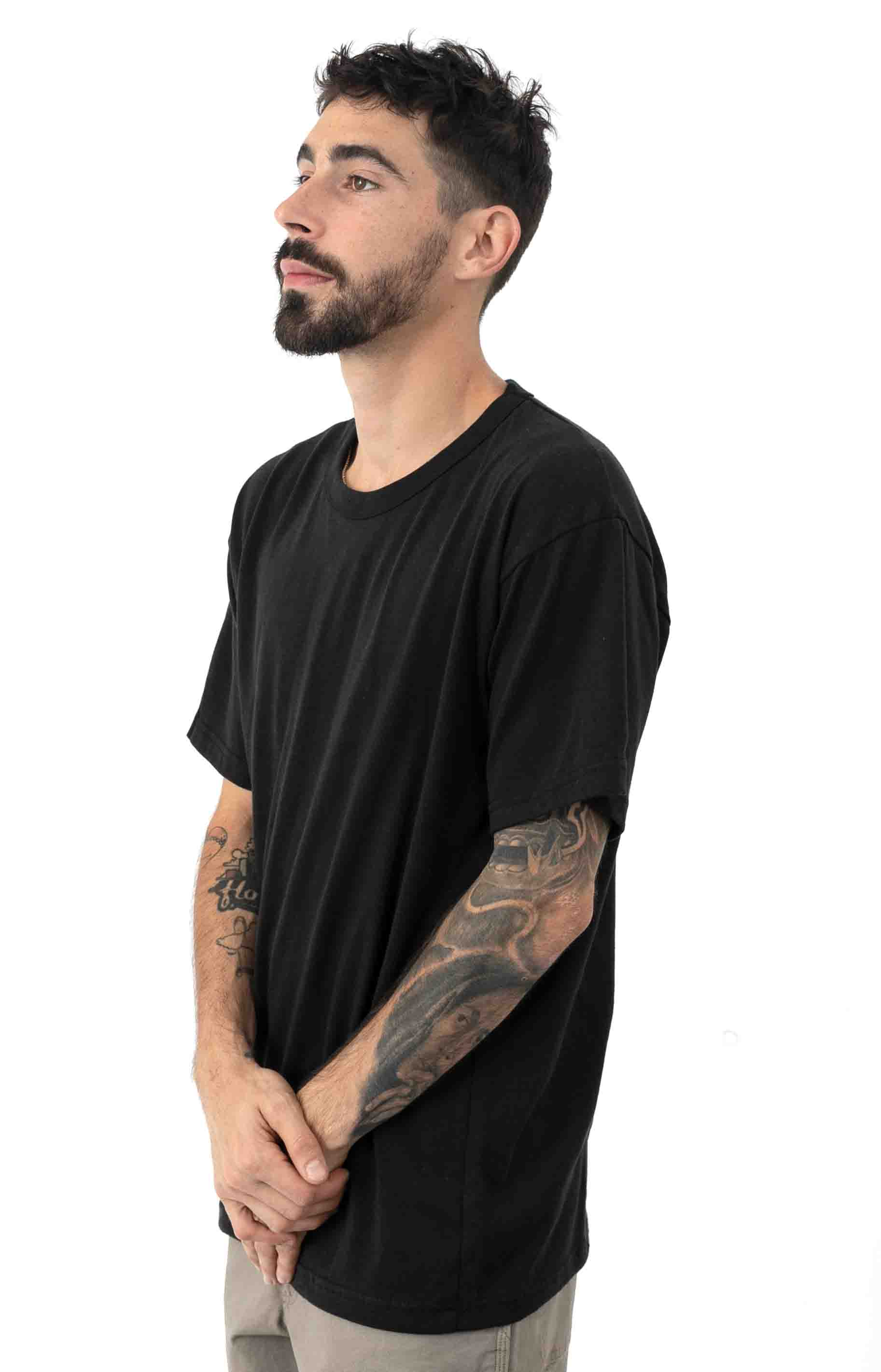 (6670) Solid Color Cotton / Polyester Blend Military T-Shirt - Black  2
