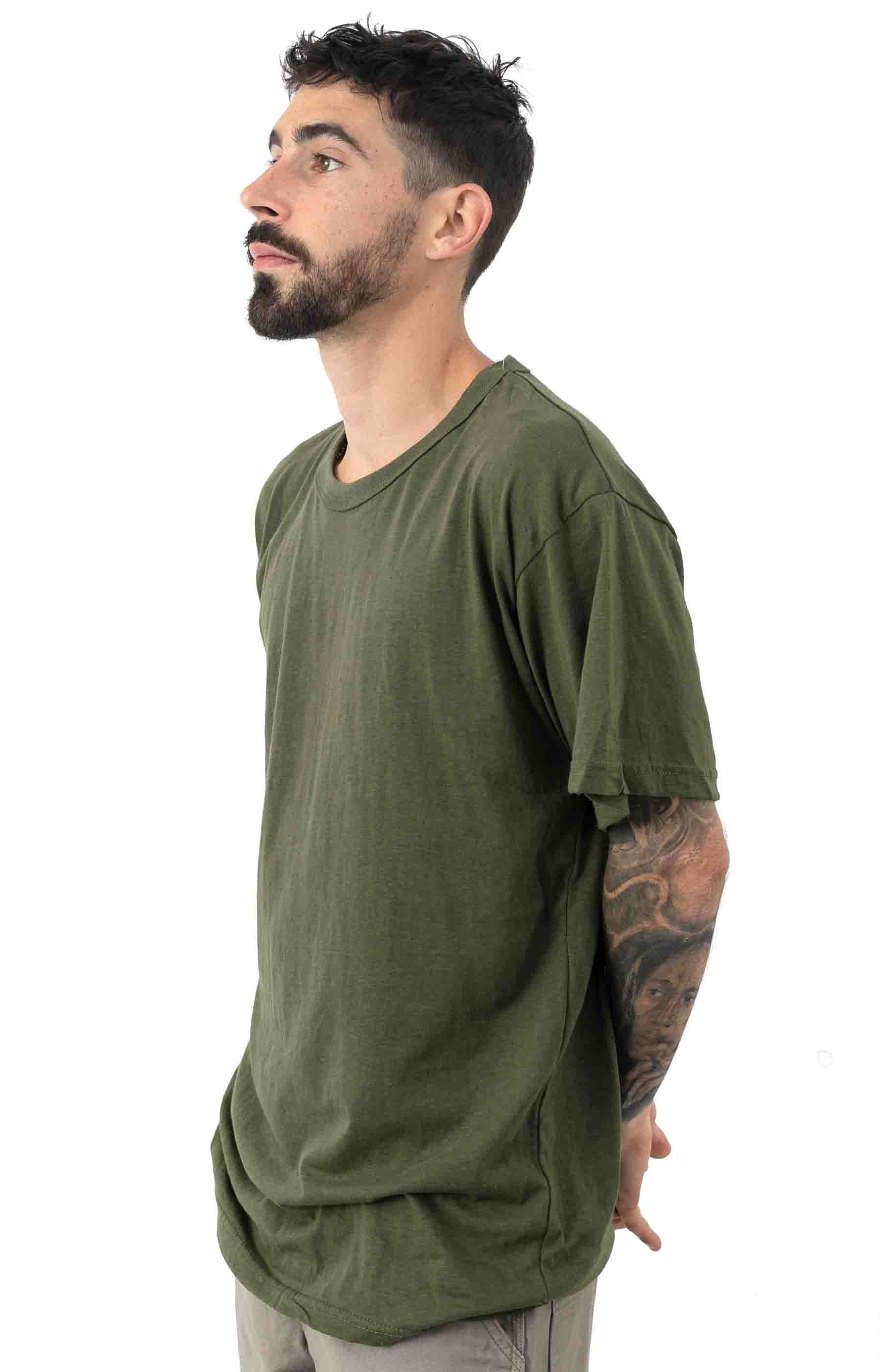 (6979) Solid Color Cotton / Polyester Blend Military T-Shirt - Olive Drab 2