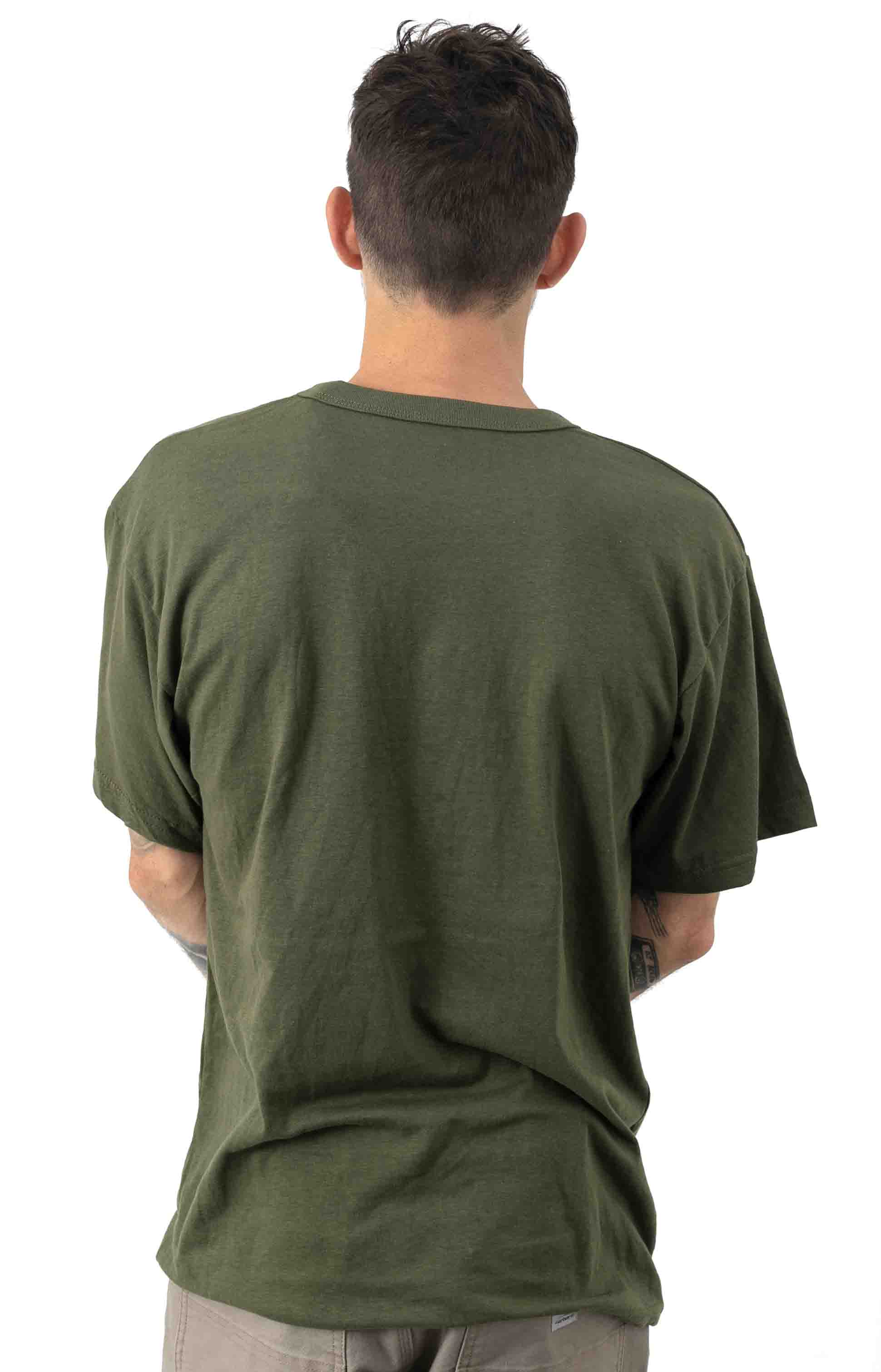 (6979) Solid Color Cotton / Polyester Blend Military T-Shirt - Olive Drab 3