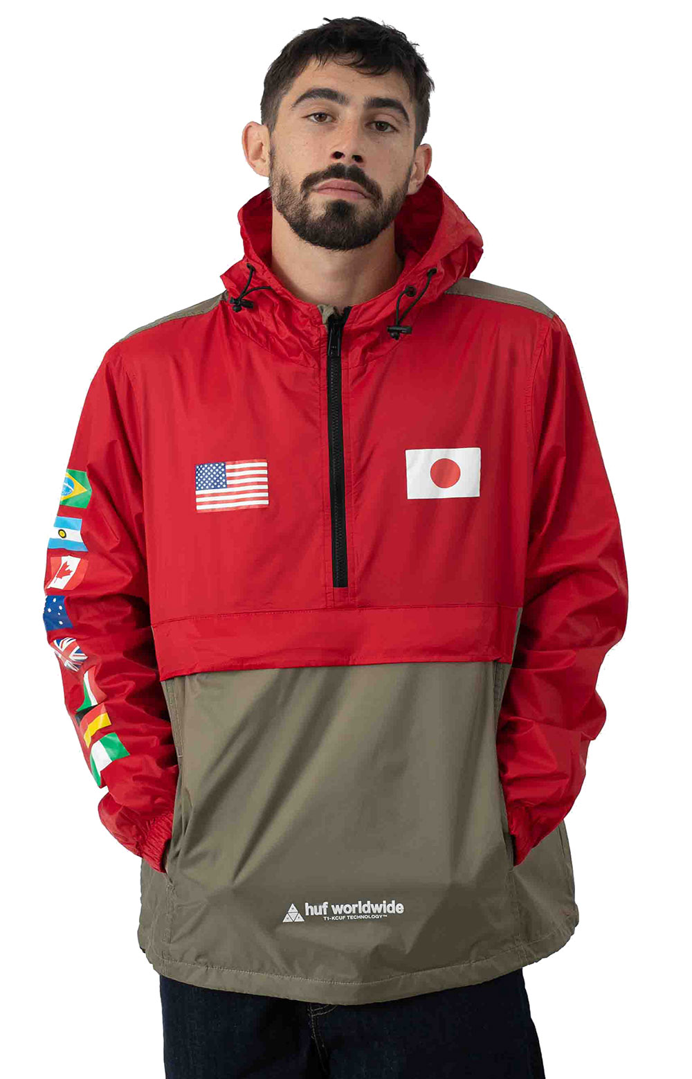 Flags Anorak Jacket - Cyber Red 4