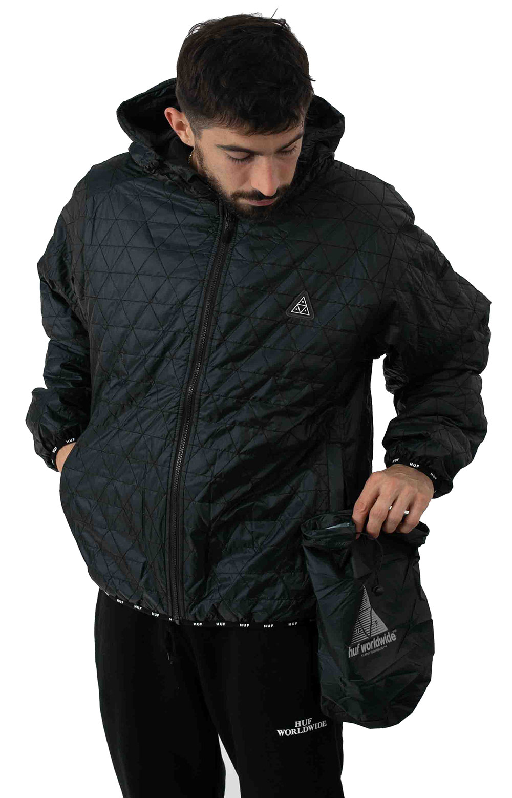 Polygon Quilted Jacket - Black 4