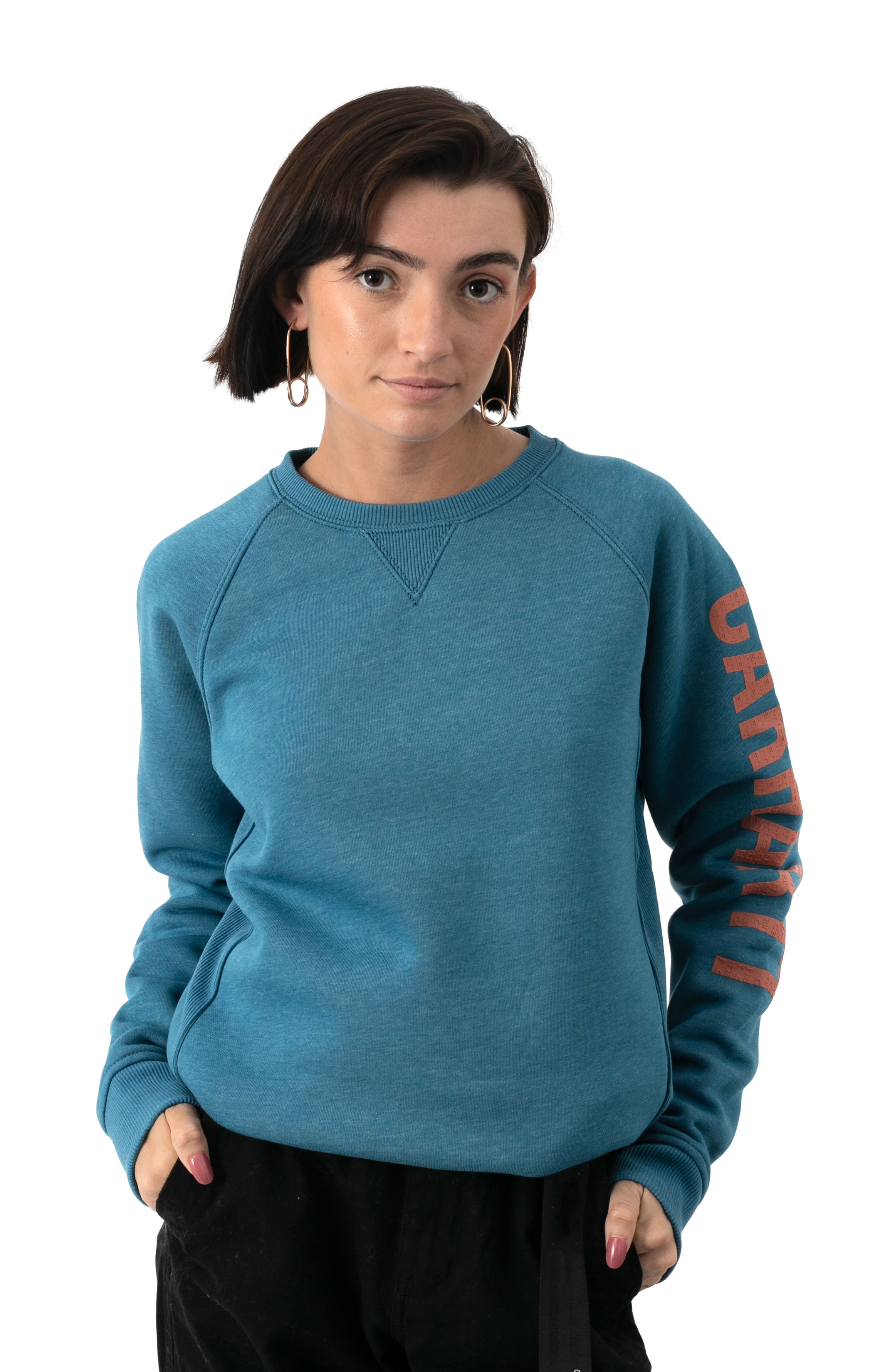 (104410) Relaxed Fit MW Graphic Sweatshirt - Ocean Blue Heather