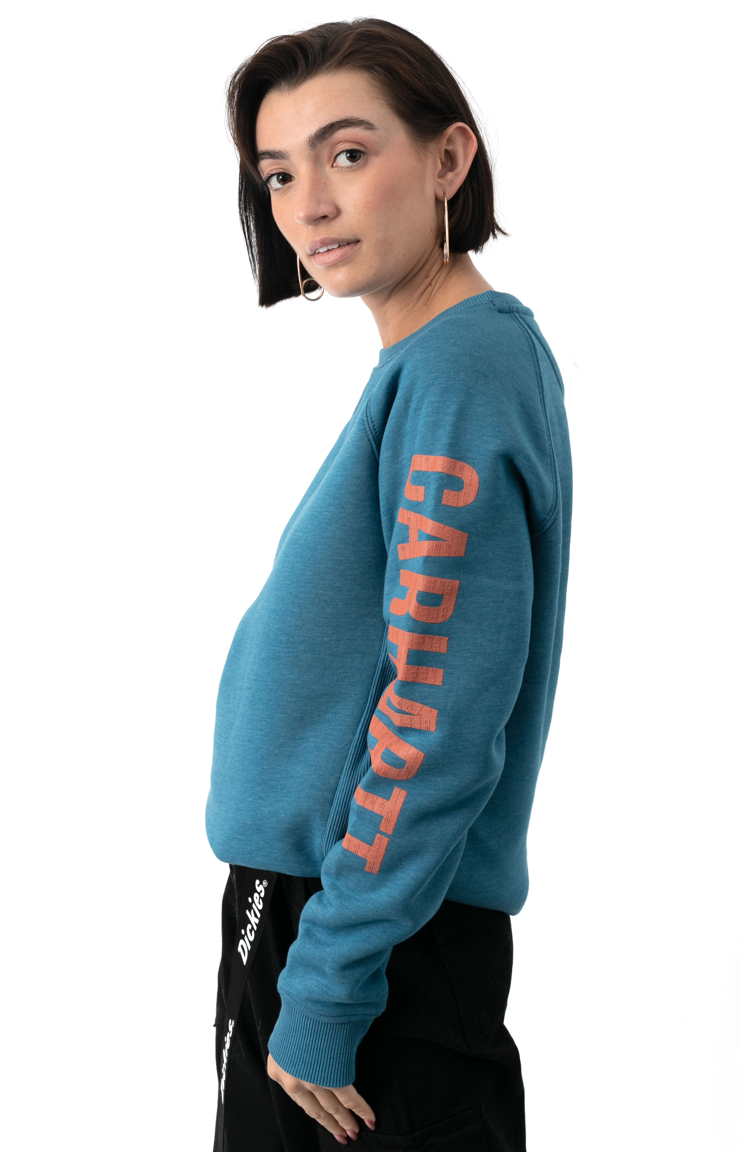 (104410) Relaxed Fit MW Graphic Sweatshirt - Ocean Blue Heather   2