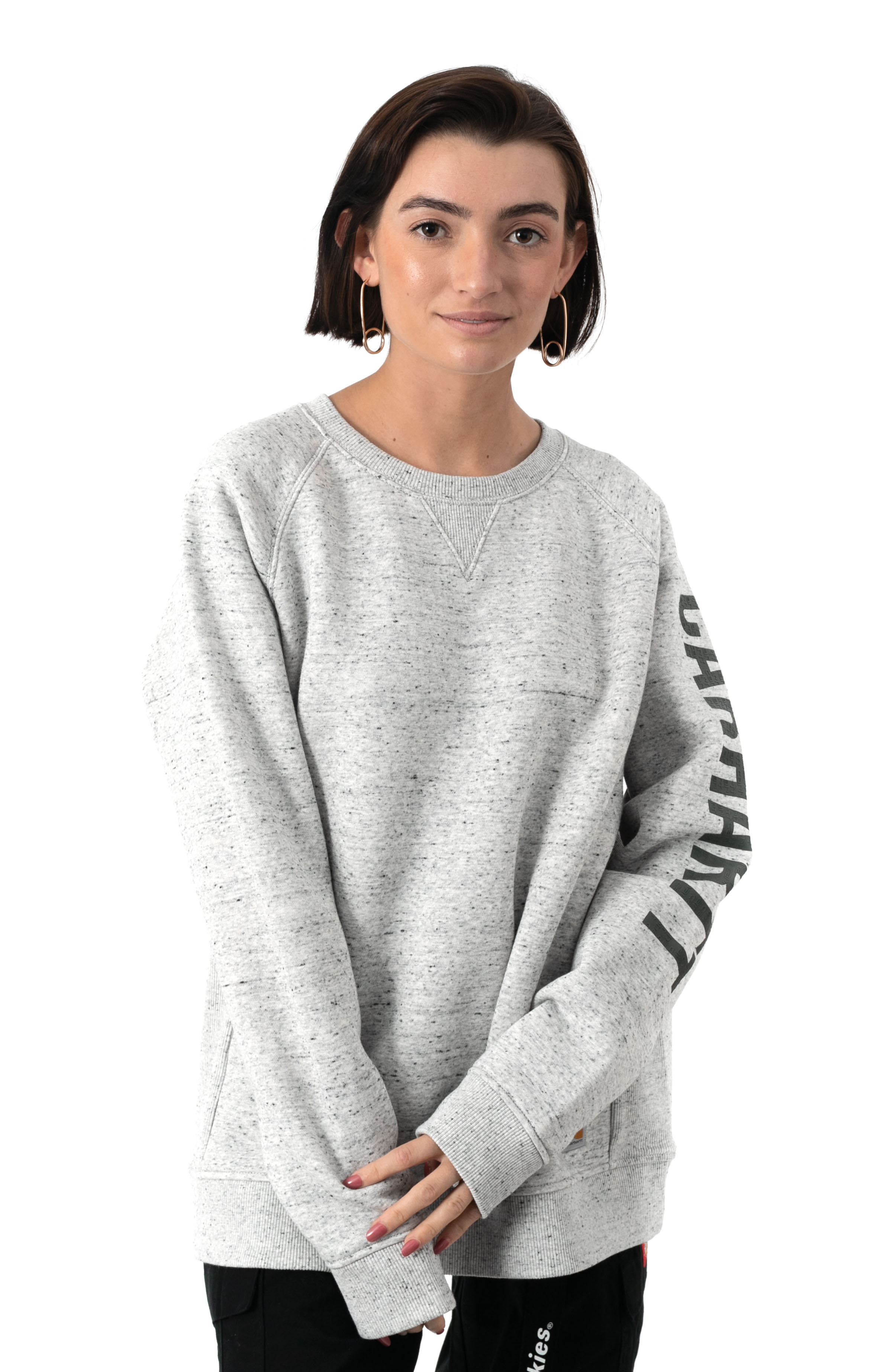 (104410) Relaxed Fit MW Graphic Sweatshirt - Asphalt Heather Nep