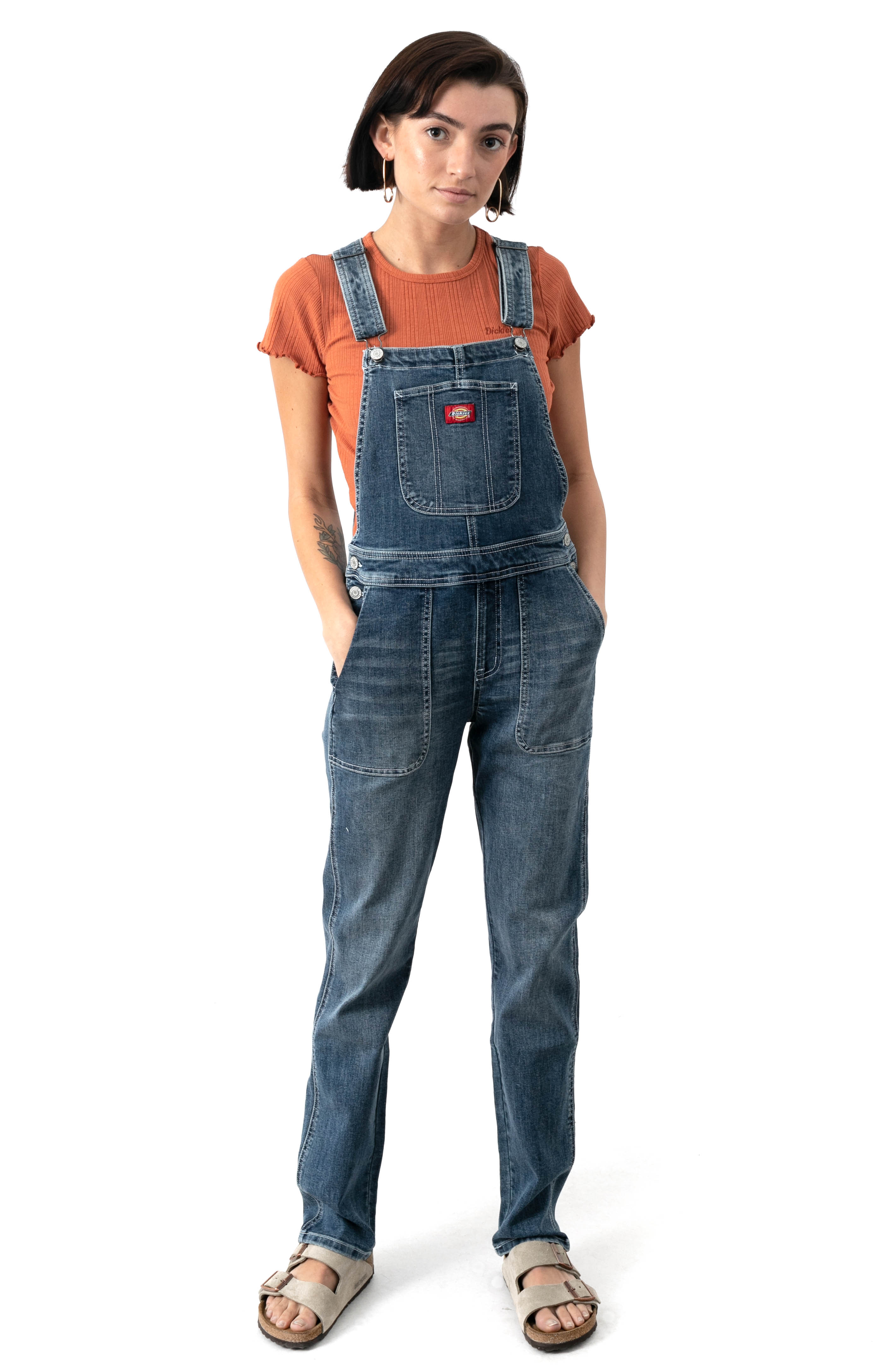 Lambchop Pocket Overalls - Medium Vintage Wash /White