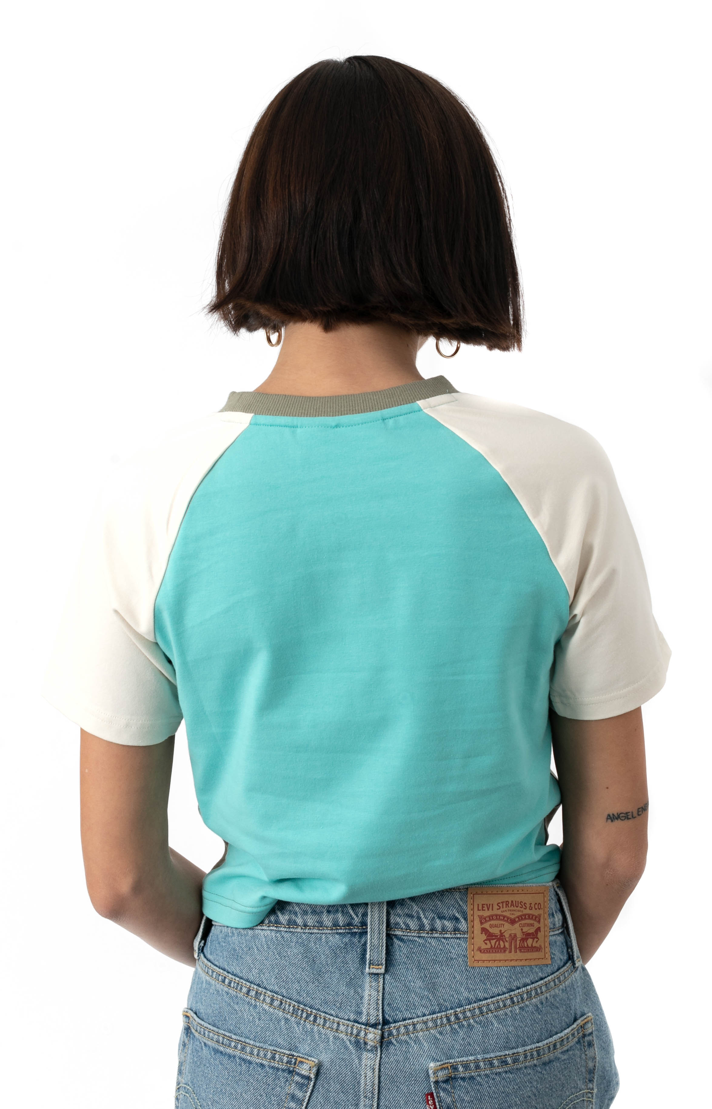 Aisha Crop Tee - Vetiver/Blue Turquoise 3