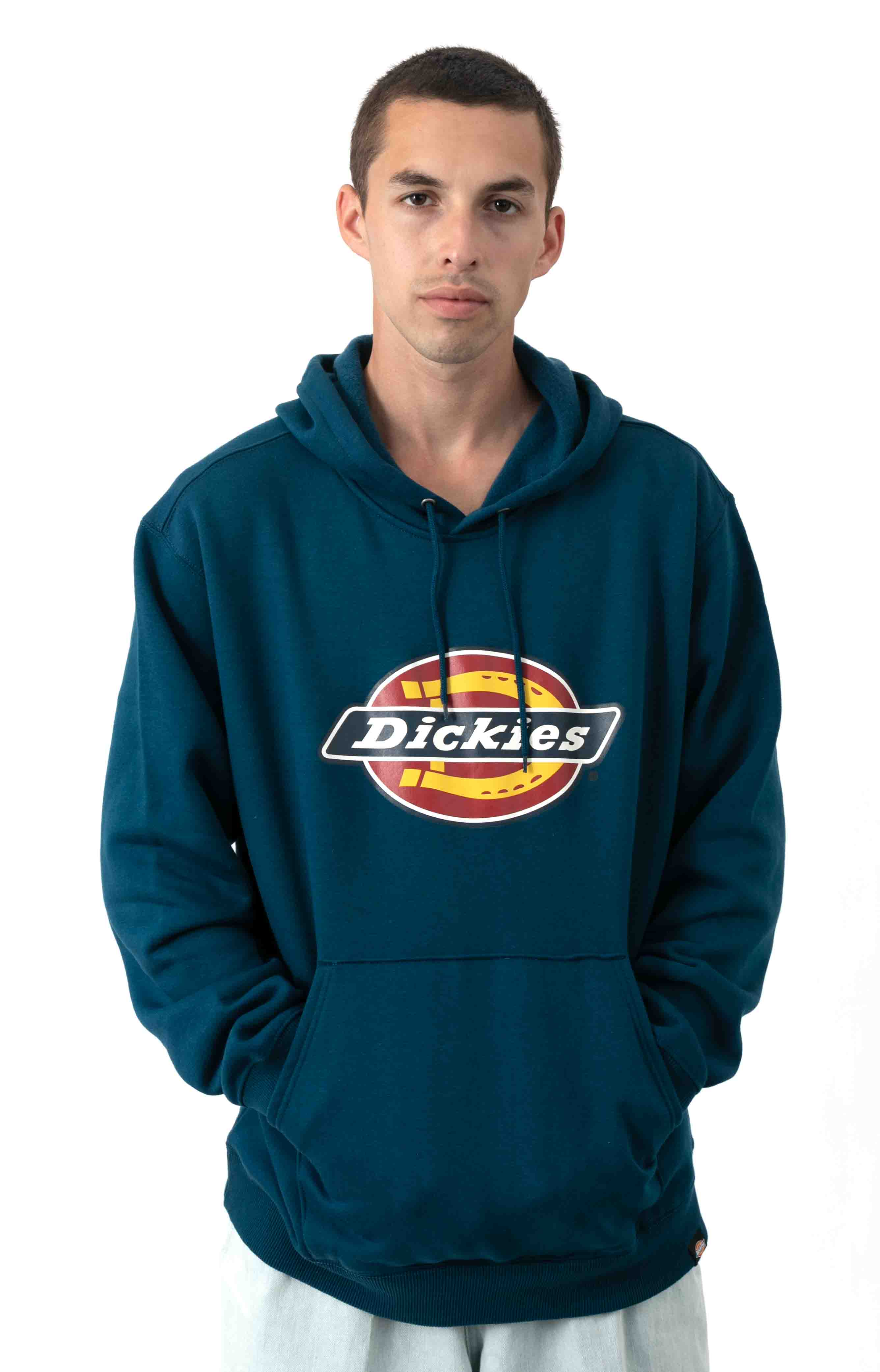 (TW45ASU1) Relaxed Fit Logo Fleece Pullover Hoodie - Storm Blue